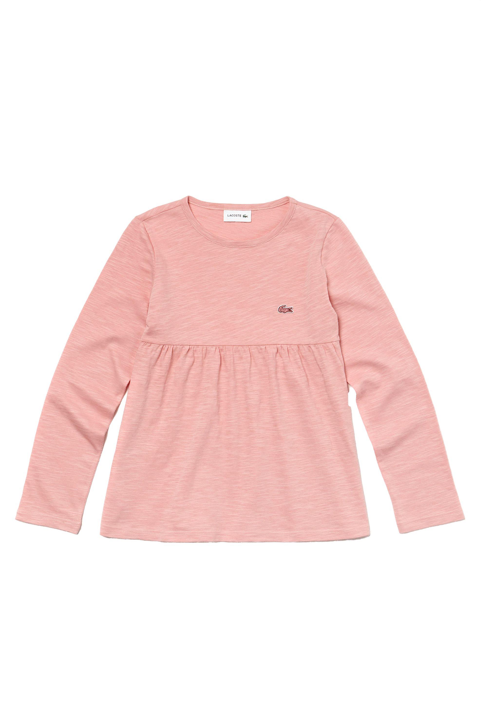 Lacoste παιδική μπλούζα μακρυμάνικη μονόχρωμη Kids Collection - TJ9802 - Σομον παιδι   κοριτσι   4 14 ετων   tops   παντελόνια   μπλούζες   πουκάμισα   μπλούζε