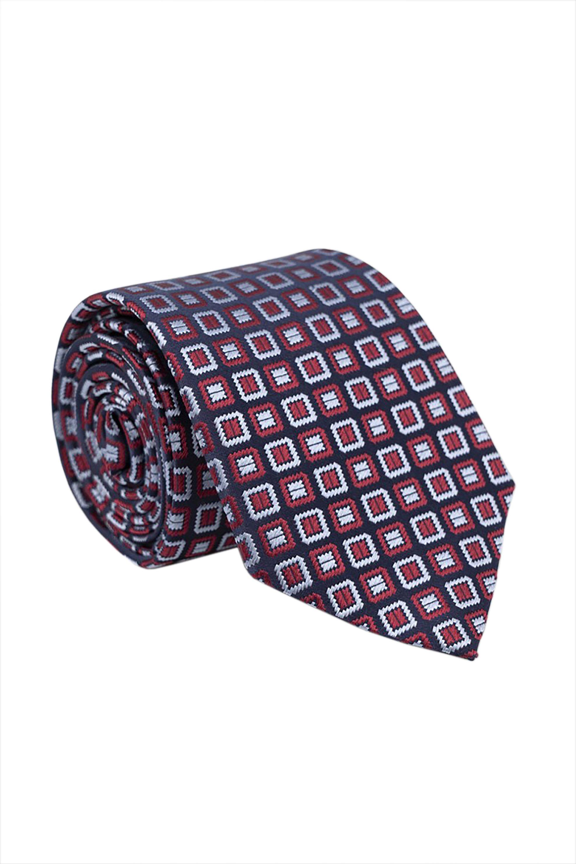 Oxford Company ανδρική μεταξωτή γραβάτα με μικροσχέδιο - TIE51-407.01 - Κόκκινο