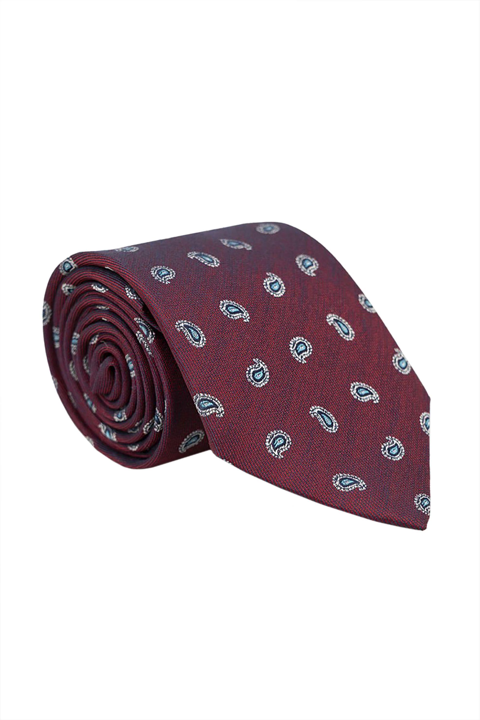 Oxford Company ανδρική μεταξωτή γραβάτα με λαχούρια - TIE51-409.03 - Μπορντό