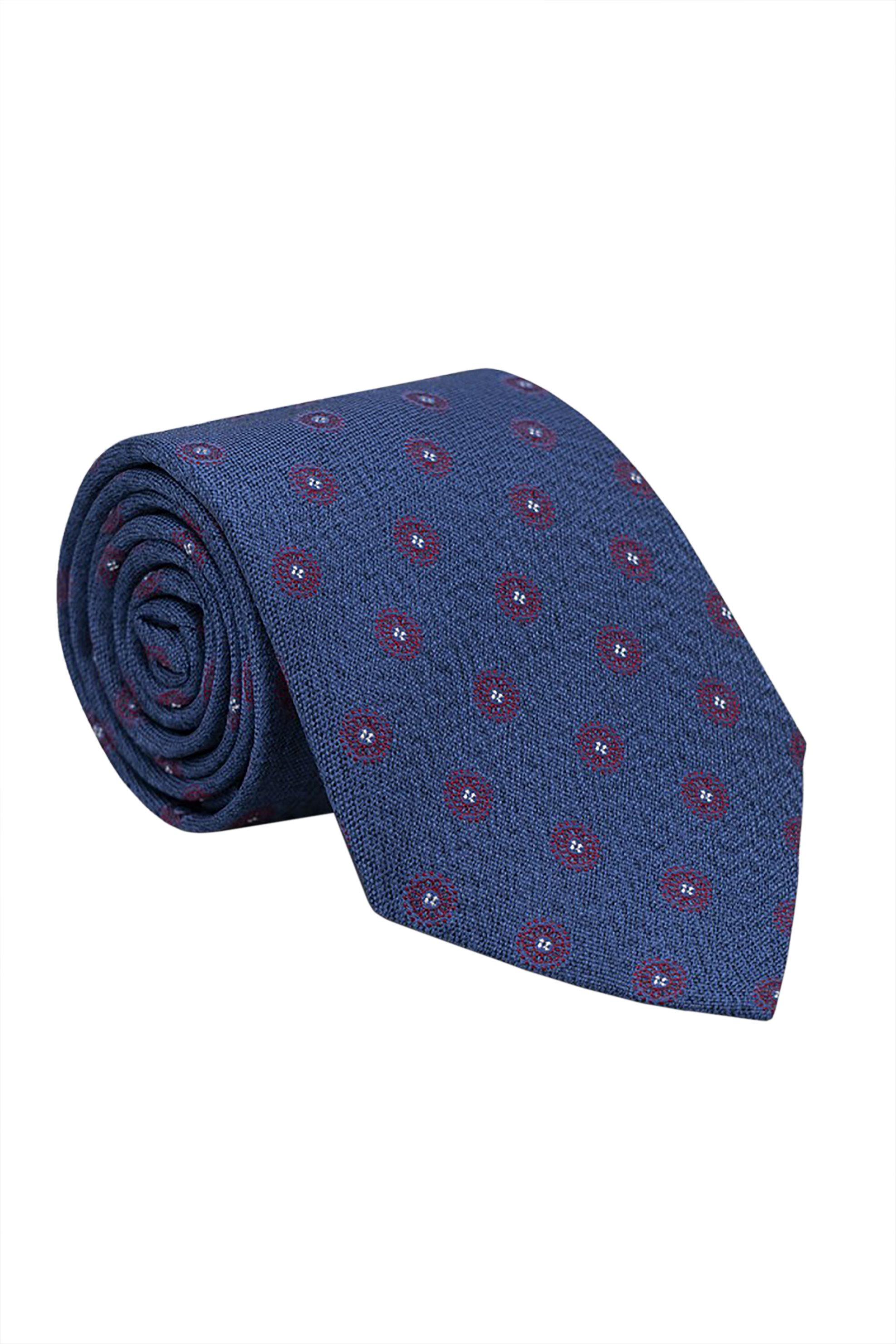 Oxford Company ανδρική μεταξωτή γραβάτα με all-over print - TIE51-411.02 - Μπλε