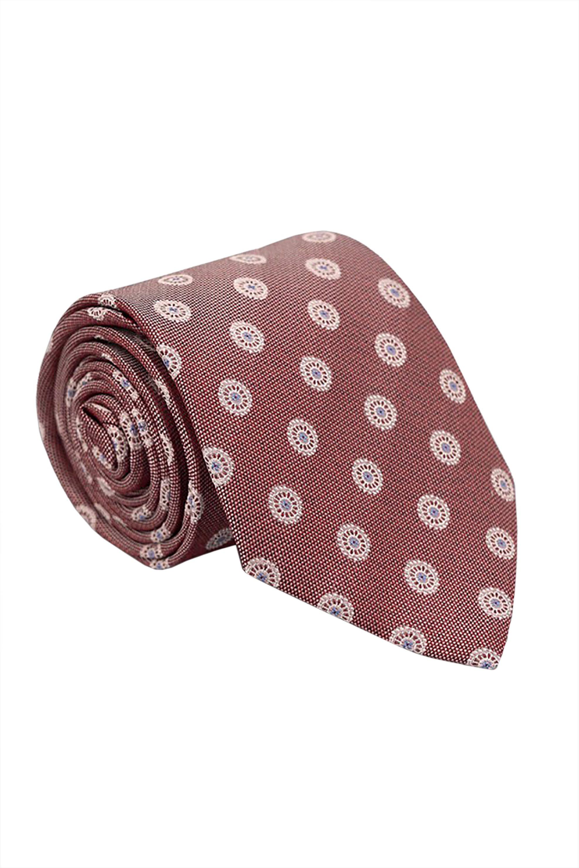 Oxford Company ανδρική μεταξωτή γραβάτα με μικροσχέδιο - TIE51-411.04 - Κεραμιδί