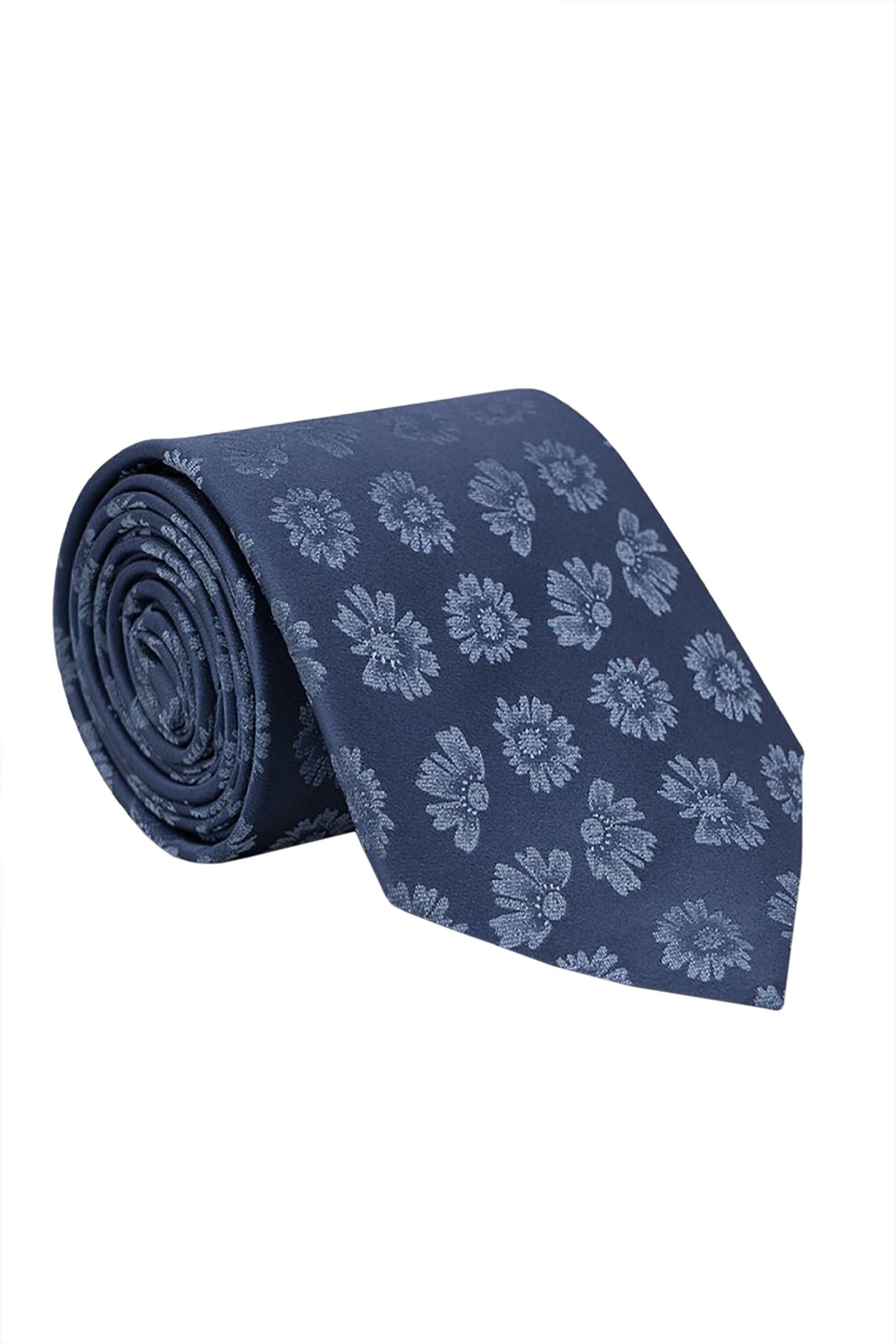 Oxford Company ανδρική μεταξωτή γραβάτα με floral print - TIE51-413.01 - Μπλε Σκούρο