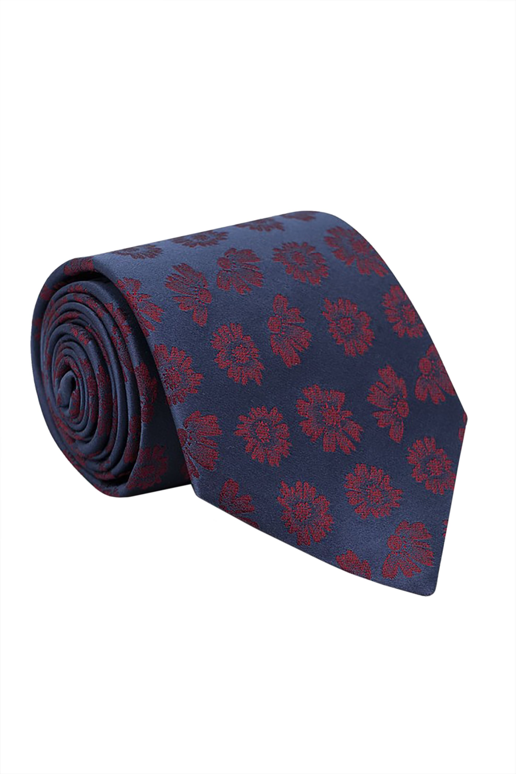 Oxford Company ανδρική μεταξωτή γραβάτα με floral print - TIE51-413.02 - Μπλε Σκούρο