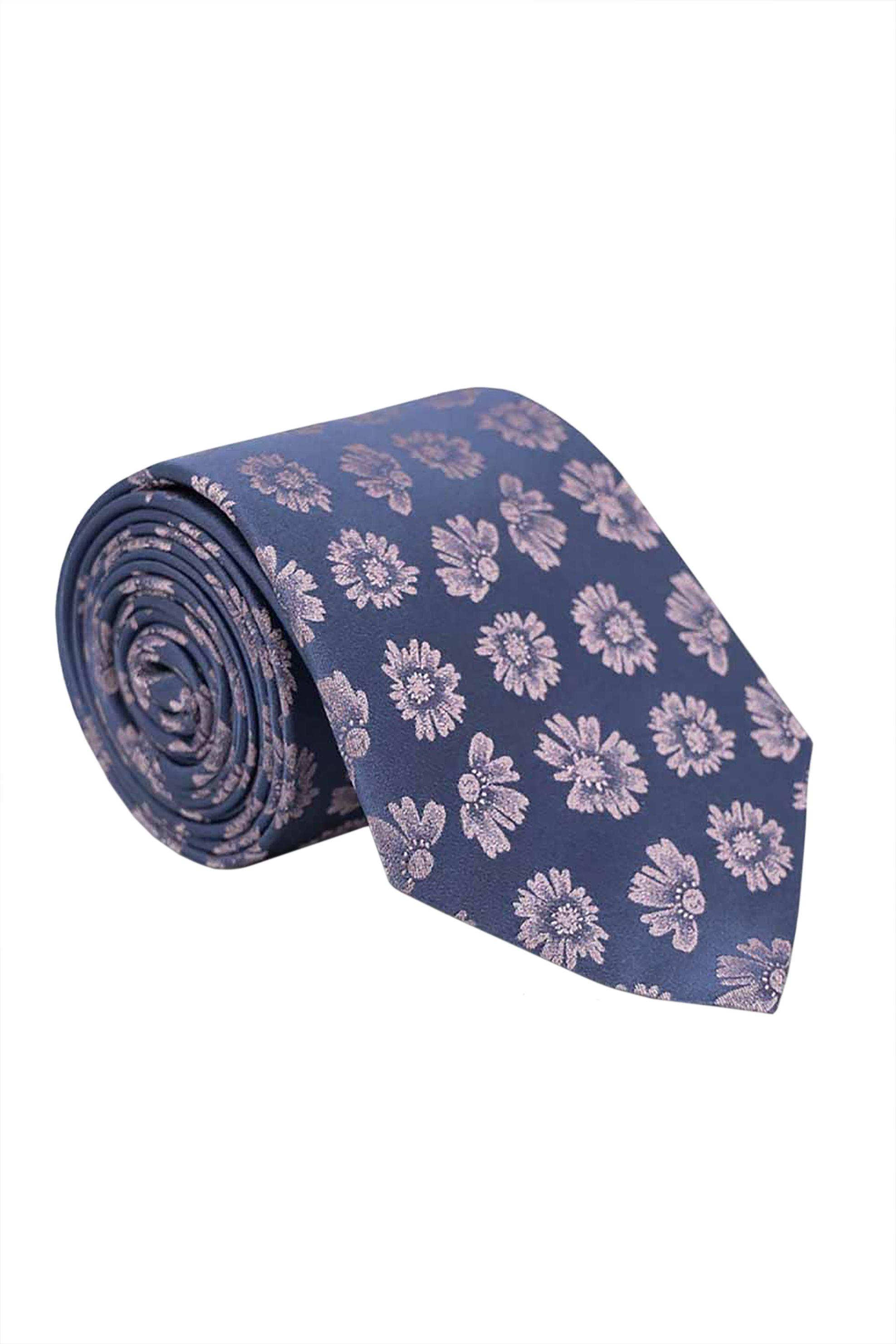 Oxford Company ανδρική μεταξωτή γραβάτα με floral print - TIE51-413.03 - Μπλε