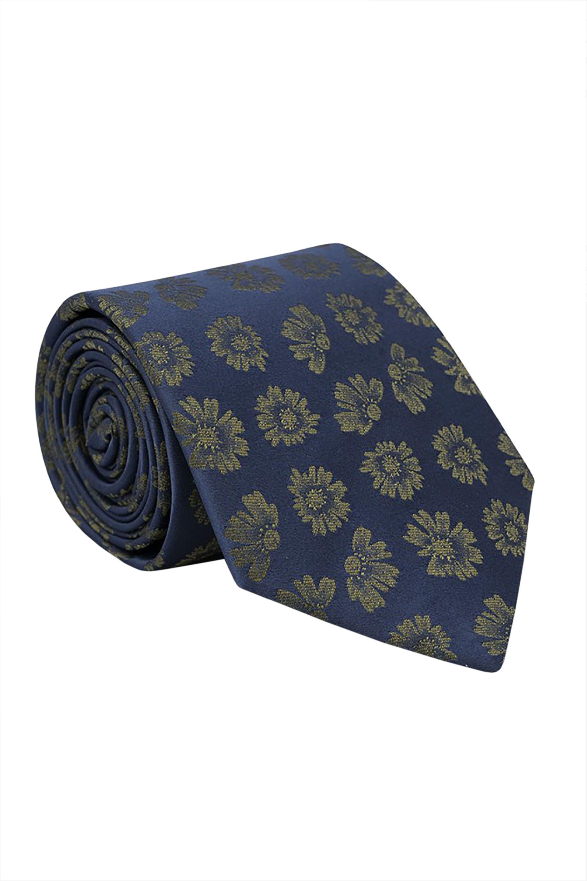 Oxford Company ανδρική μεταξωτή γραβάτα με floral print - TIE51-413.04 - Μπλε Σκούρο