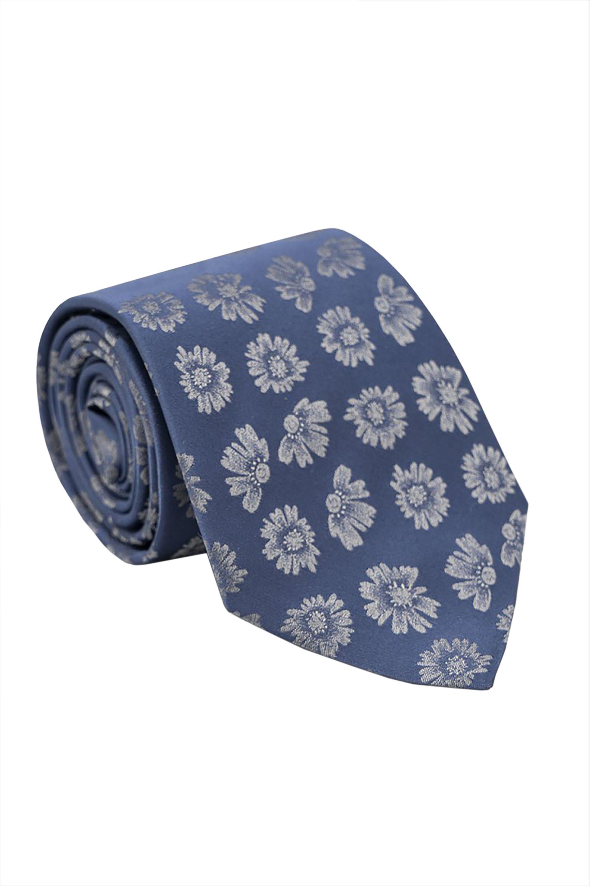 Oxford Company ανδρική μεταξωτή γραβάτα με floral print - TIE51-413.05 - Μπλε Σκούρο