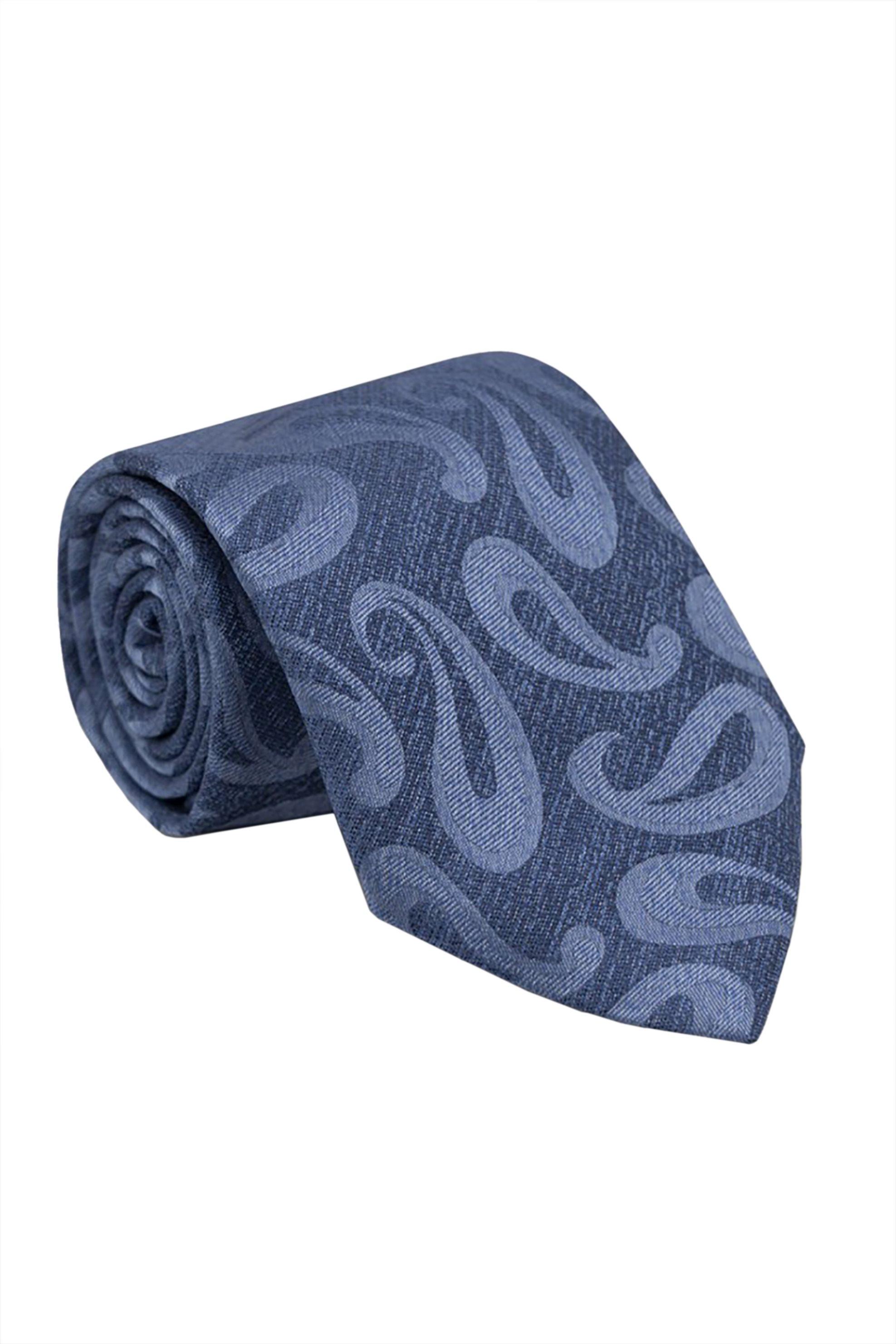 Oxford Company ανδρική μεταξωτή γραβάτα με all-over print - TIE51-414.01 - Μπλε