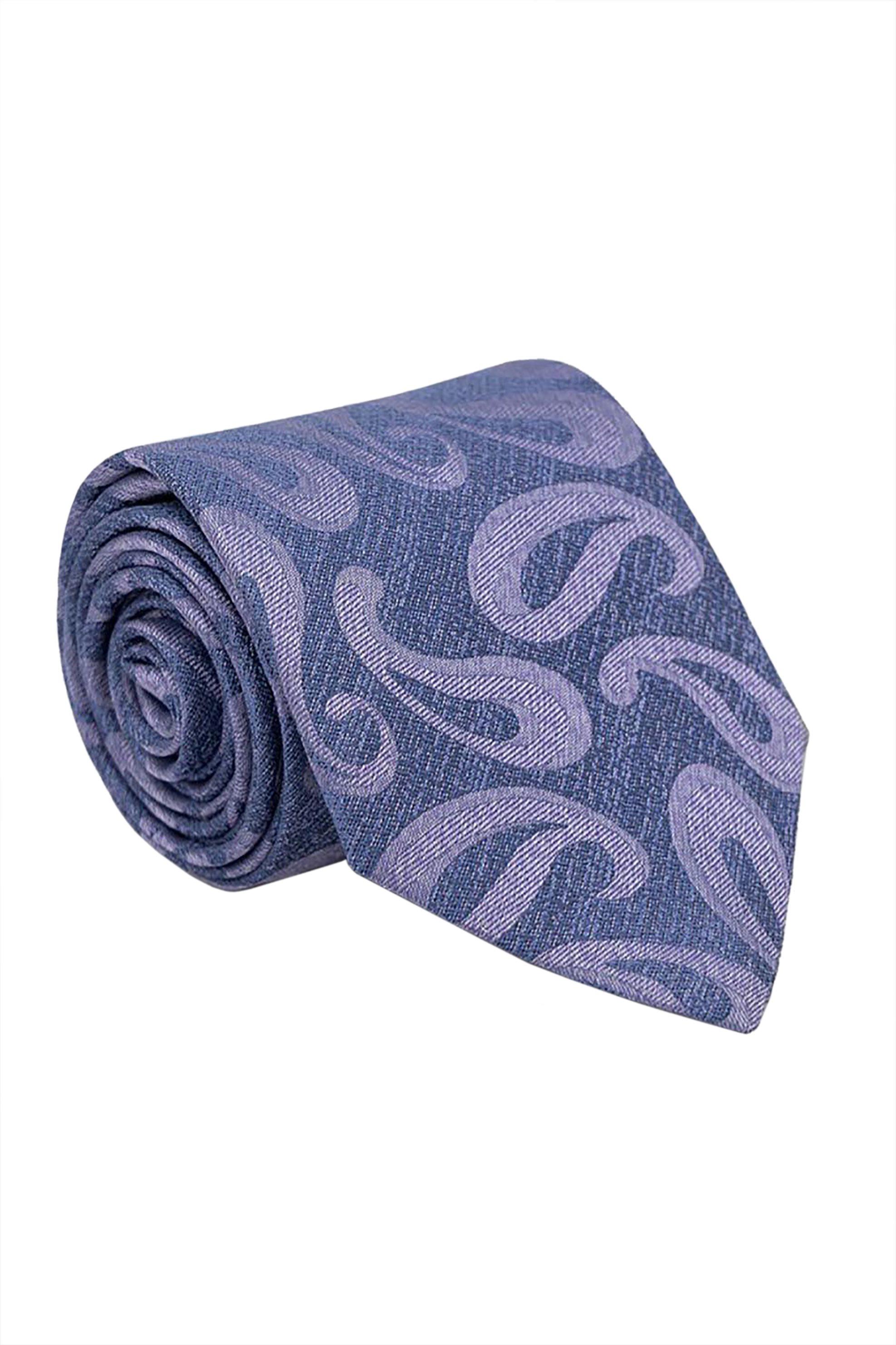 Oxford Company ανδρική μεταξωτή γραβάτα με all-over print - TIE51-414.02 - Μπλε