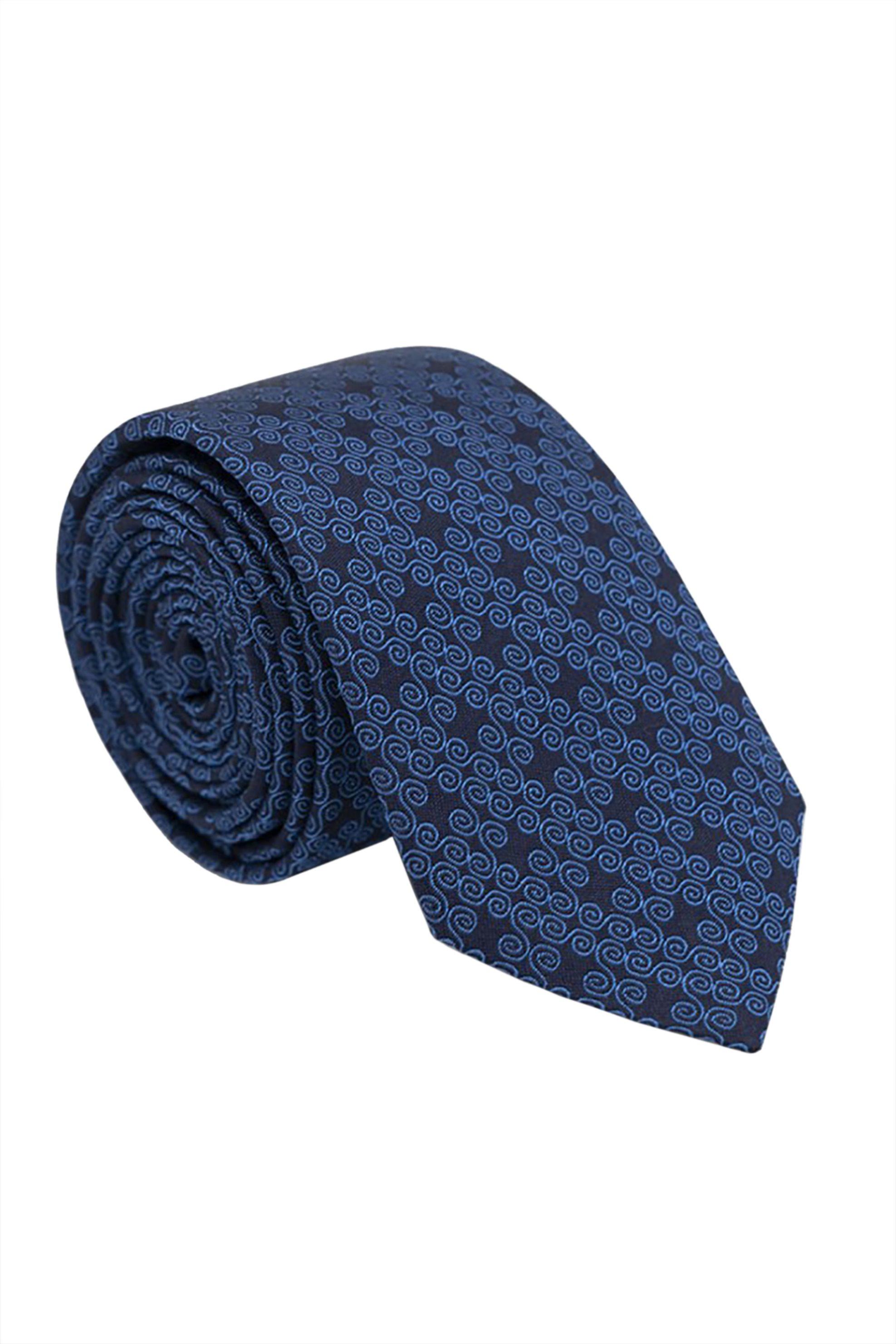 Oxford Company ανδρική μεταξωτή γραβάτα με γεωμετρικό σχέδιο - TIE51-418.01 - Μπλε Σκούρο