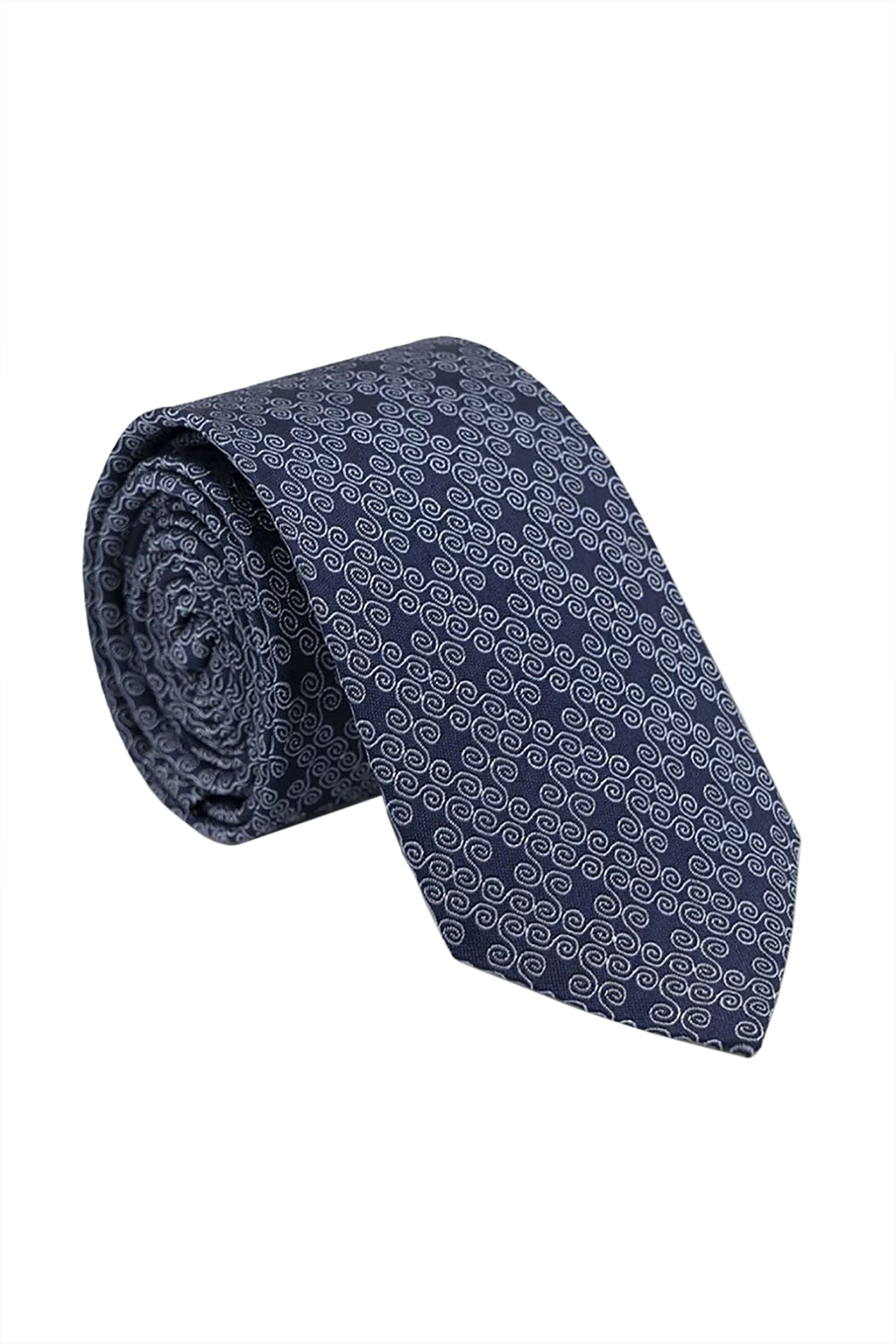 Oxford Company ανδρική μεταξωτή γραβάτα με γεωμετρικό σχέδιο - TIE51-418.02 - Μπλε Σκούρο