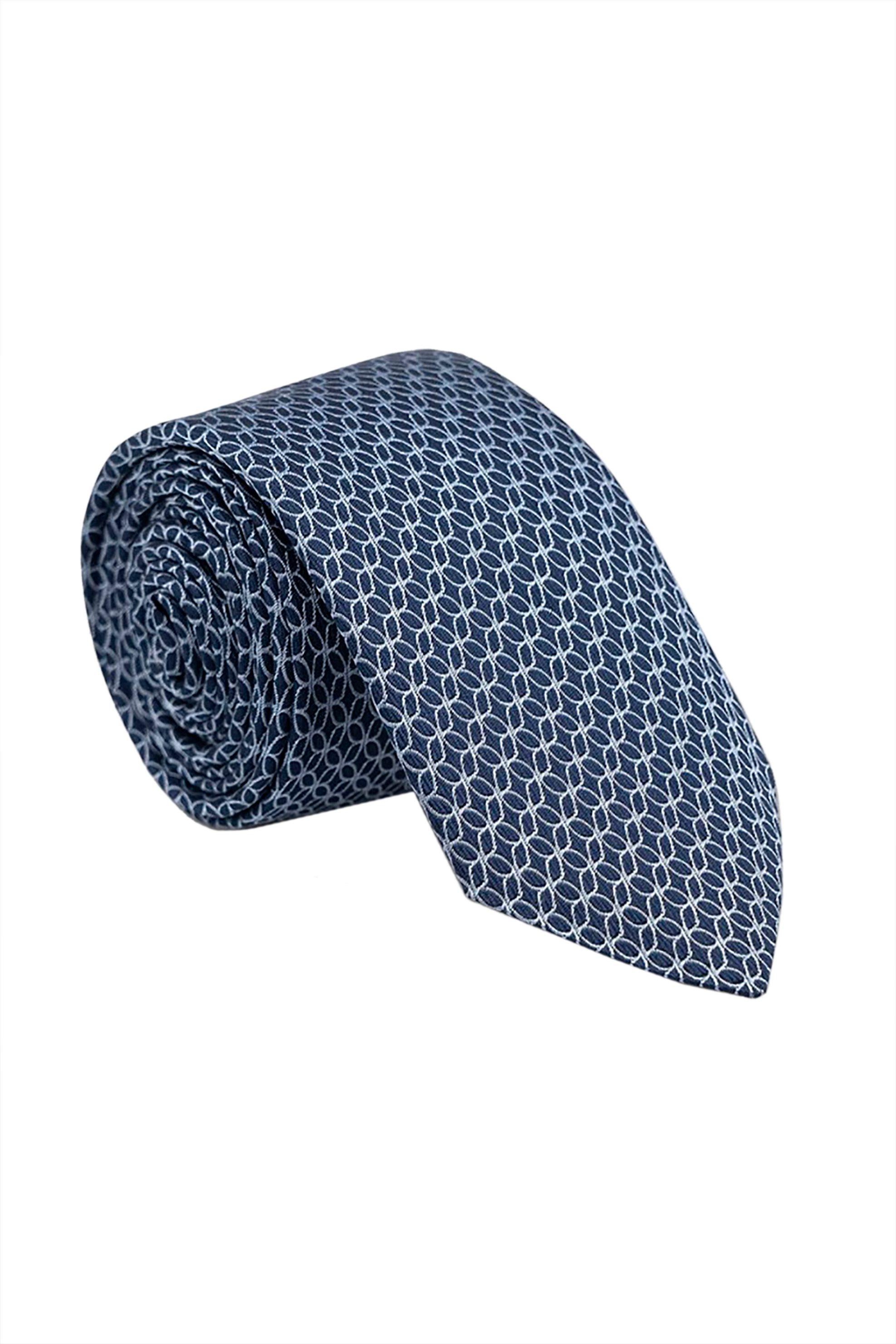 Oxford Company ανδρική μεταξωτή γραβάτα με γεωμετρικό σχέδιο - TIE51-419.01 - Μπλε Σκούρο