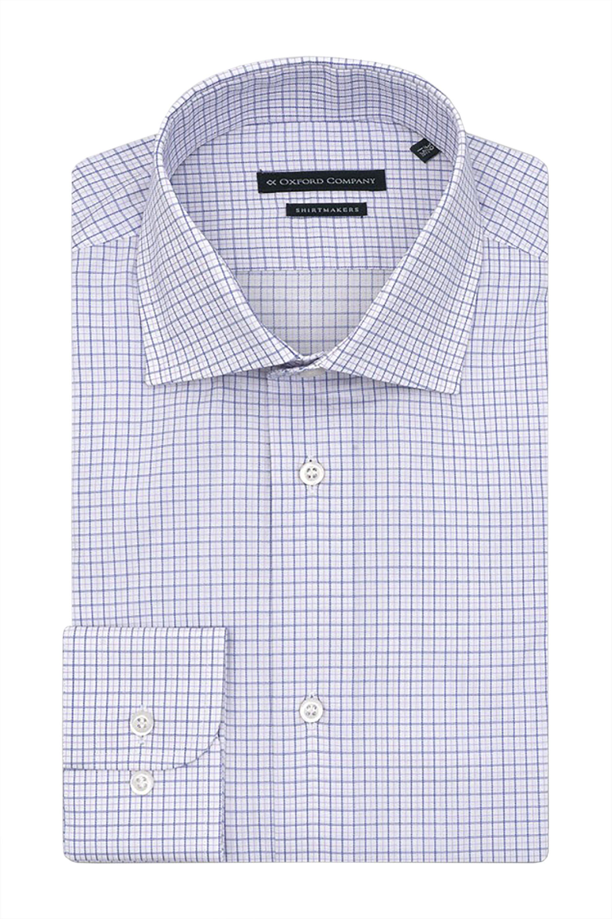 Oxford Company ανδρικό classic πουκάμισο καρό Regular Fit - M132NRO21.01 - Λευκό