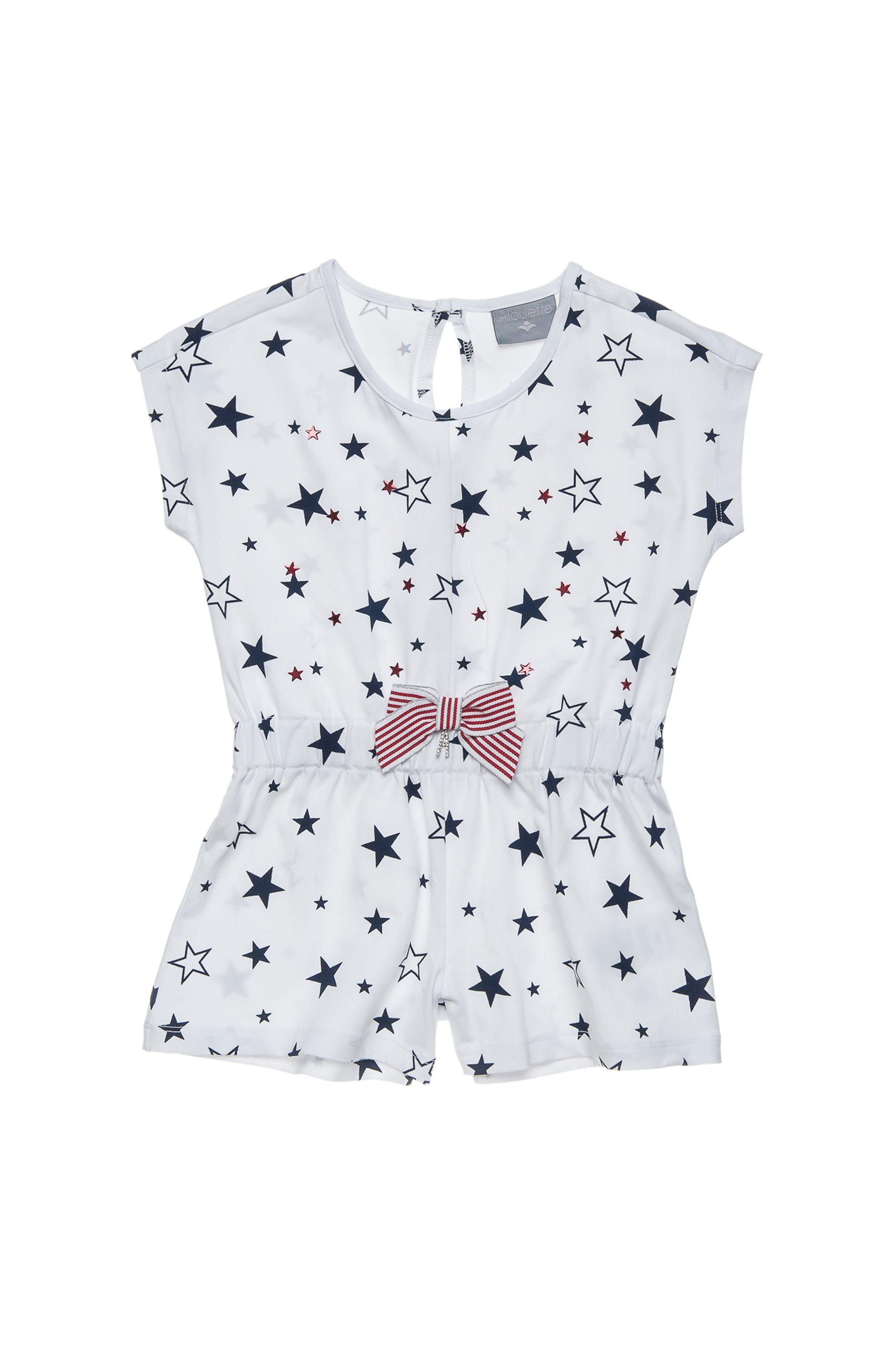 Παιδική σαλοπέτα με print αστέρια Alouette - 00211785 - Λευκό παιδι   κοριτσι   4 14 ετων   tops   παντελόνια   σαλοπέτες