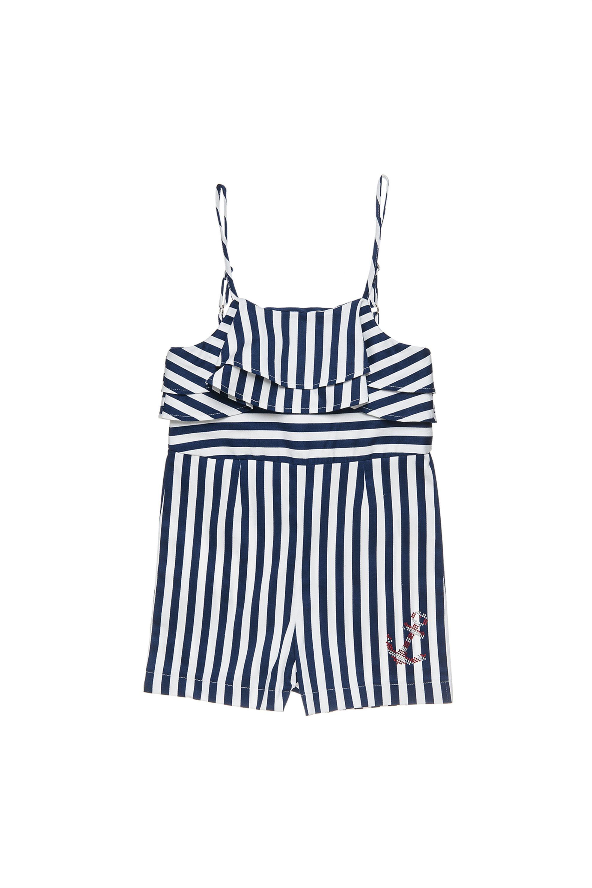 Παιδική σαλοπέτα με ρίγες Alouette - 00912686 - Λευκό - Μπλε παιδι   κοριτσι   4 14 ετων   tops   παντελόνια   σαλοπέτες