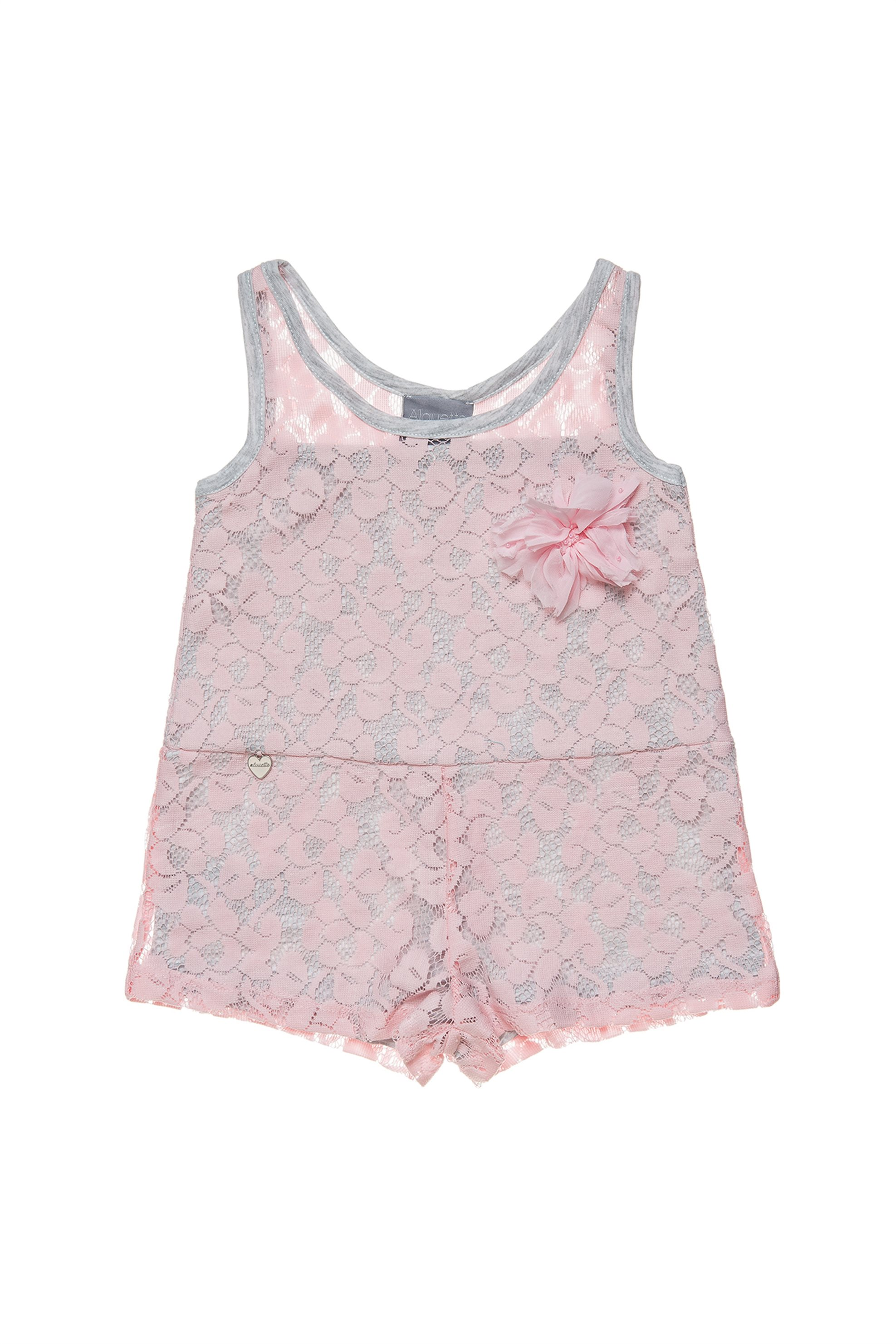 Βρεφική αμάνικη σαλοπέτα με δαντέλα Alouette - 00211782 - Ροζ παιδι   βρεφικα κοριτσι   0 3 ετων   ρούχα   σαλοπέτες