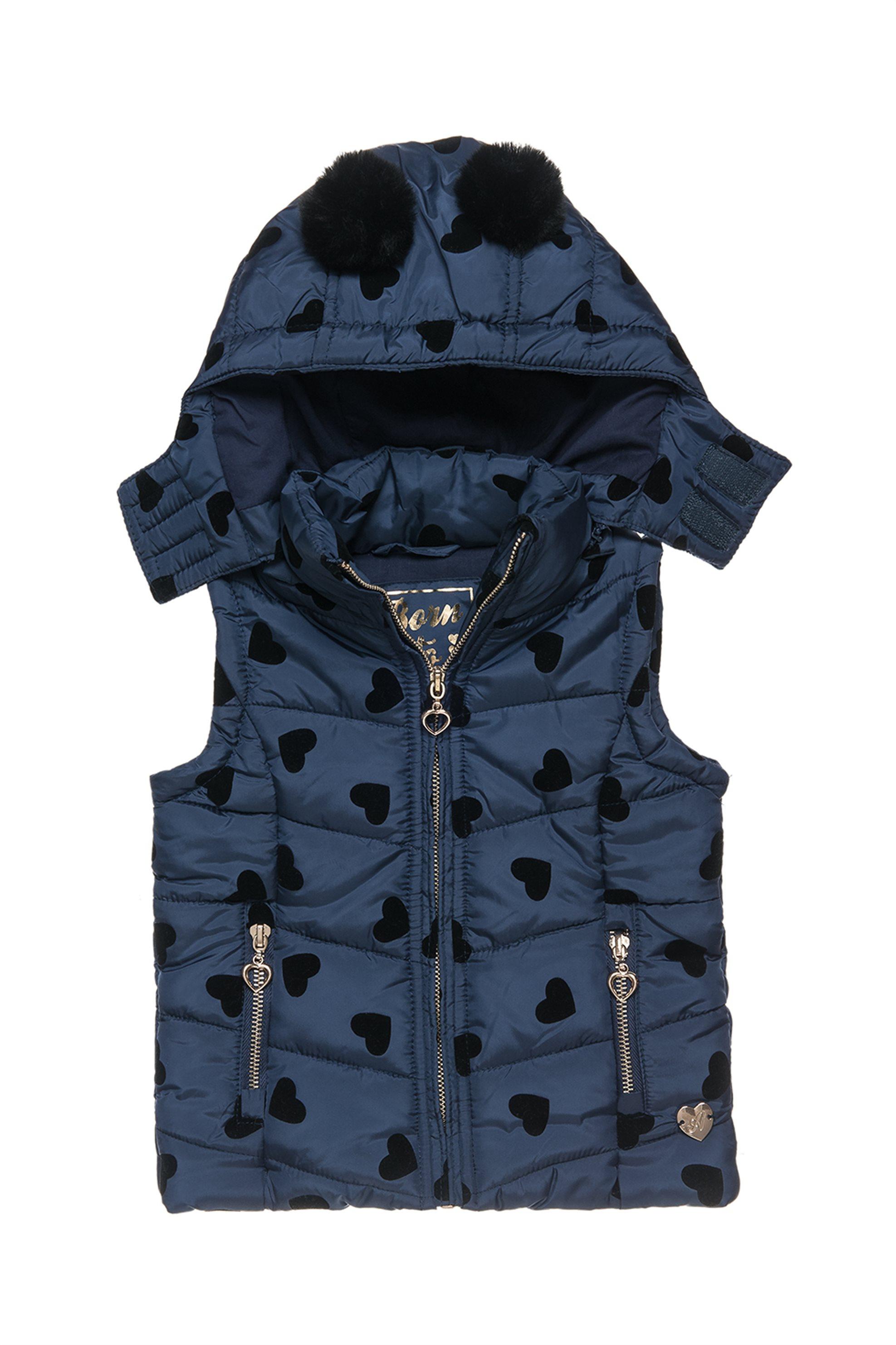 Alouette παιδικό αμάνικο καπιτονέ μπουφάν με print καρδιές - 00251238 - Μπλε Σκο παιδι   βρεφικα κοριτσι   0 3 ετων   κοριτσι   4 14 ετων   παλτό   μπουφάν   ρού