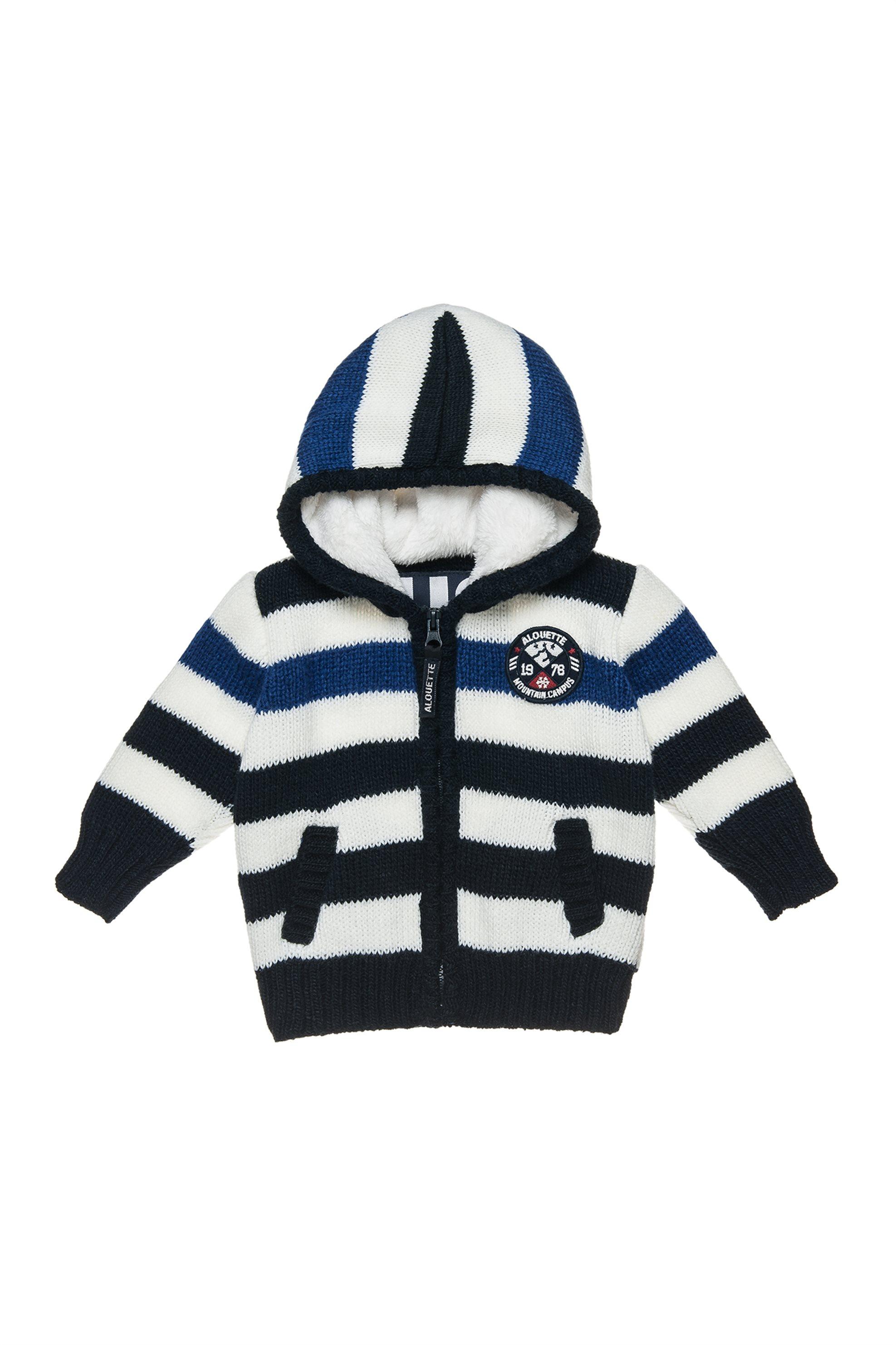 Αlouette παιδική πλεκτή ριγέ ζακέτα με κουκούλα - 00260993 - Μπλε παιδι   βρεφικα αγορι   0 3 ετων   αγορι   4 14 ετων   ρούχα   μπλουζάκια   παντ