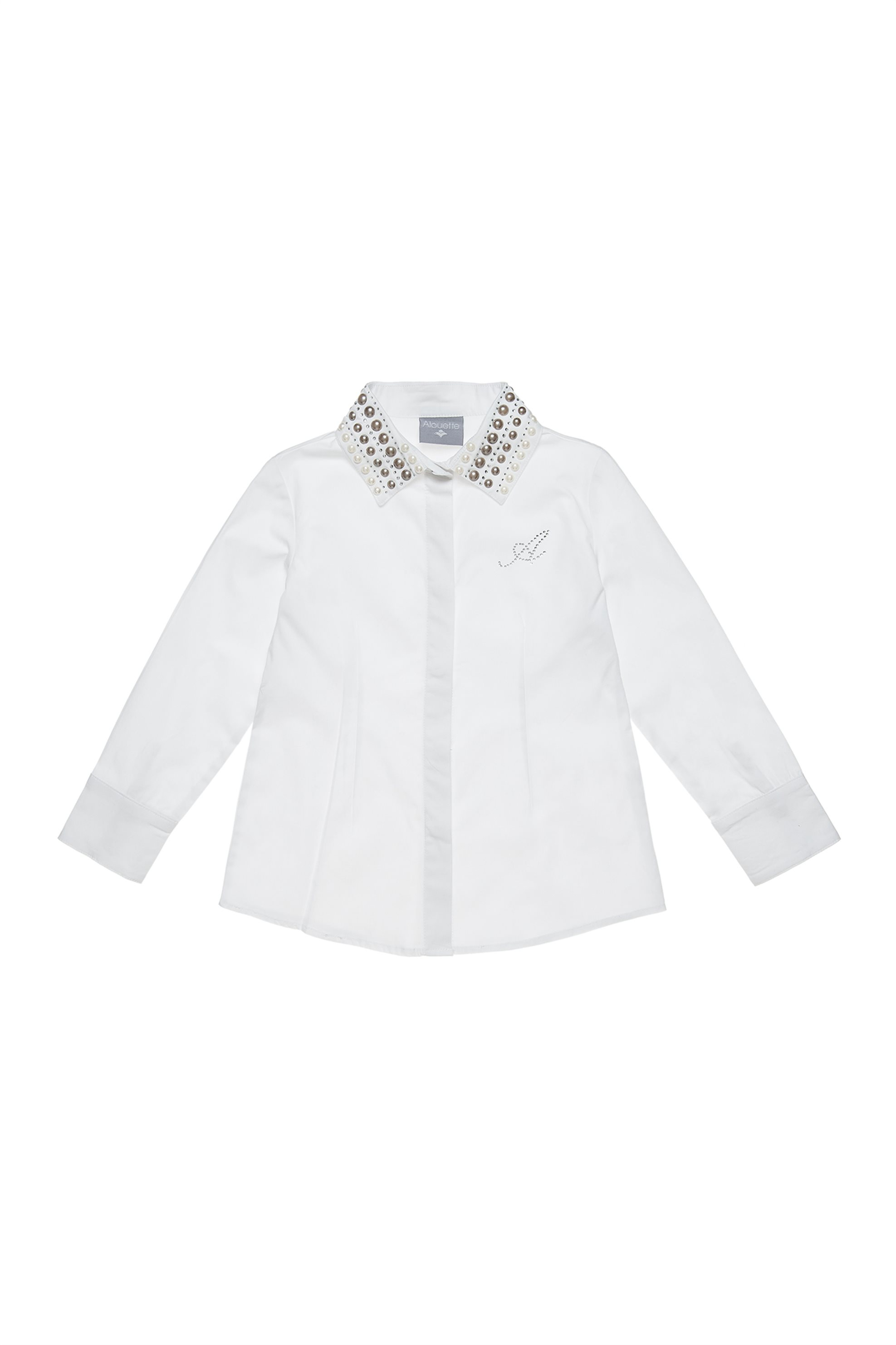 Alouette παιδικό πουκάμισο με πέρλες και στρας στον γιακά - 00922265 - Λευκό παιδι   κοριτσι   4 14 ετων   tops   παντελόνια   μπλούζες   πουκάμισα   πουκάμι