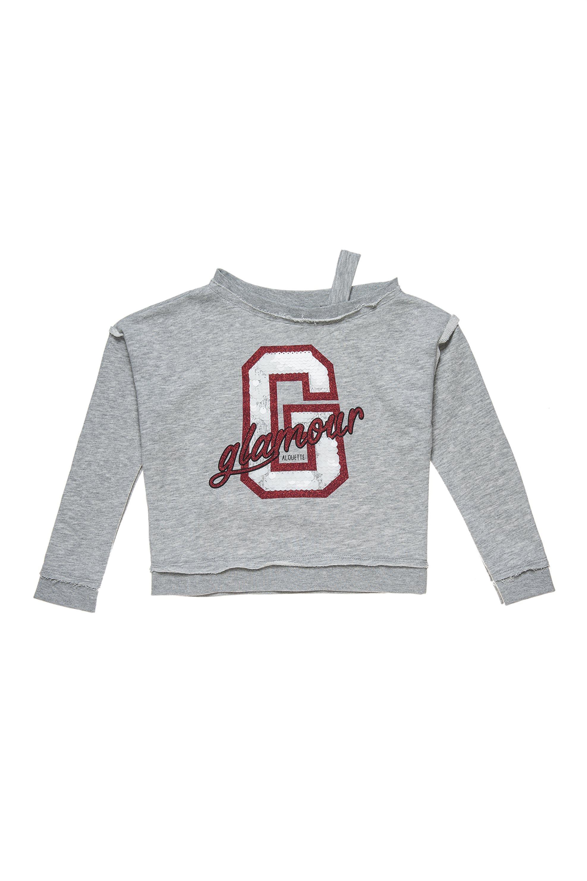 Αlouette παιδική μπλούζα φούτερ με έναν ώμο και τύπωμα με παγιέτες - 00922286 -  παιδι   κοριτσι   4 14 ετων   tops   παντελόνια   μπλούζες   πουκάμισα   μπλούζε