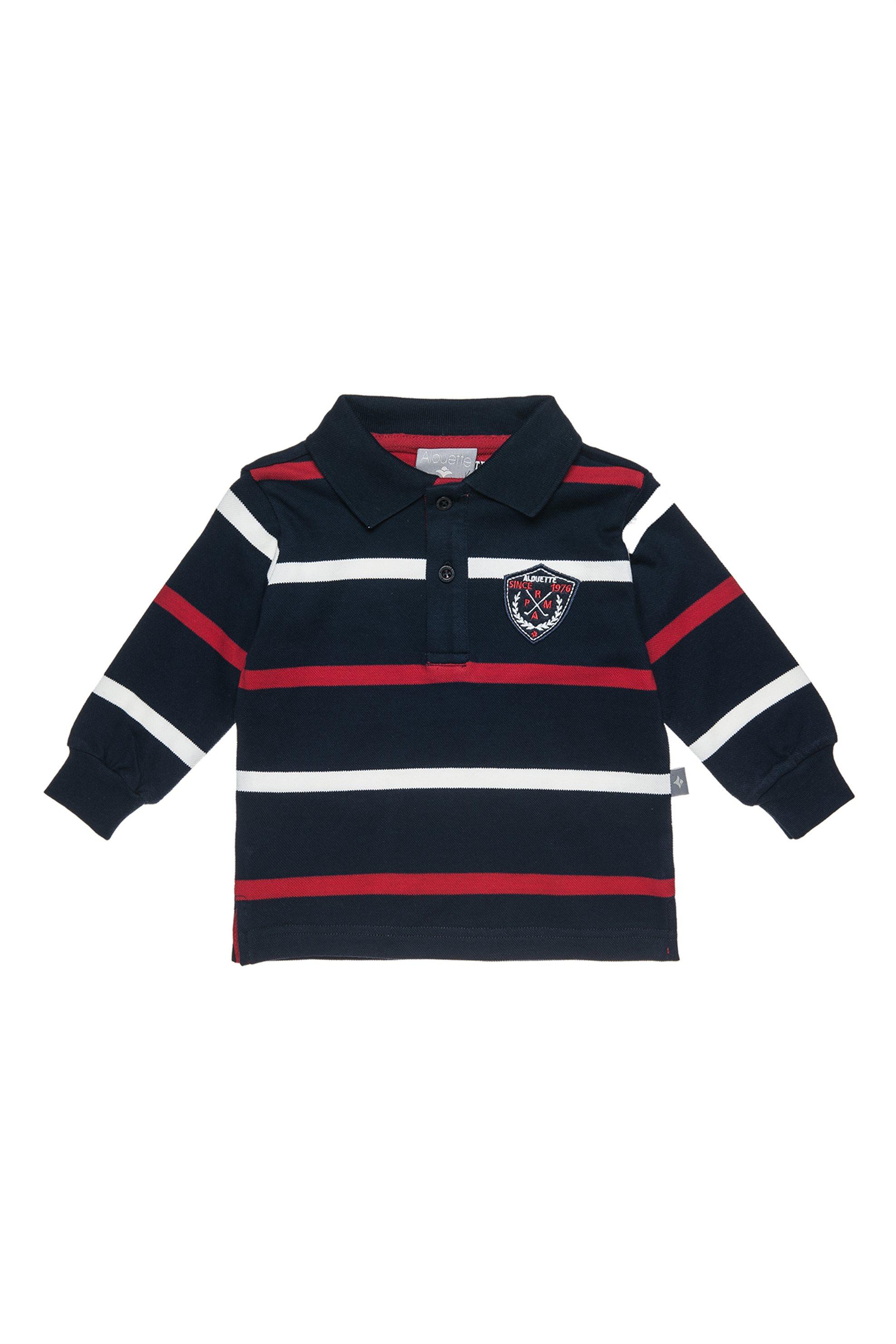 Notos Alouette παιδική μπλούζα ριγέ polo με patch - 00221294 - Κόκκινο 942f4befcd4