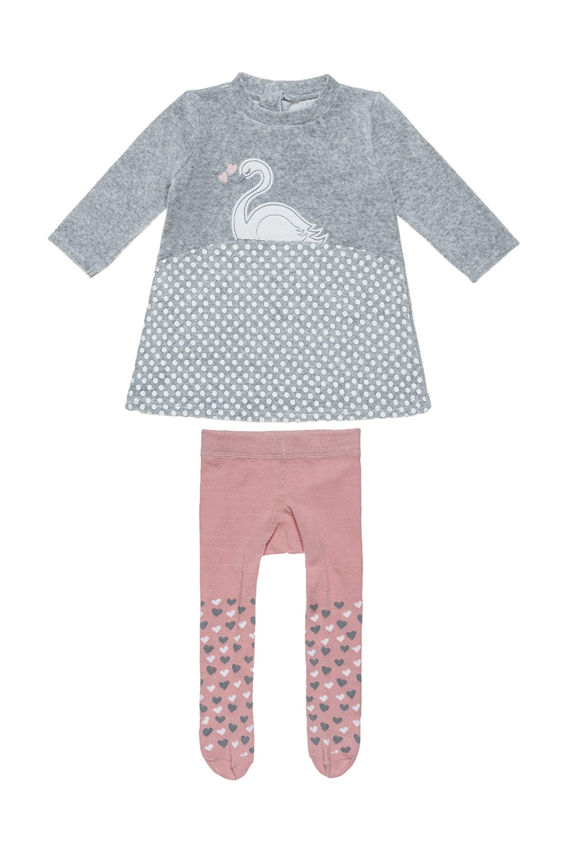 Alouette βρεφικό σετ φόρεμα βελούδινο με κυκνο καλσόν με print καρδιές - 0047062 παιδι   βρεφικα κοριτσι   0 3 ετων   ρούχα   σετ ρούχων   φορέματα   φούστες