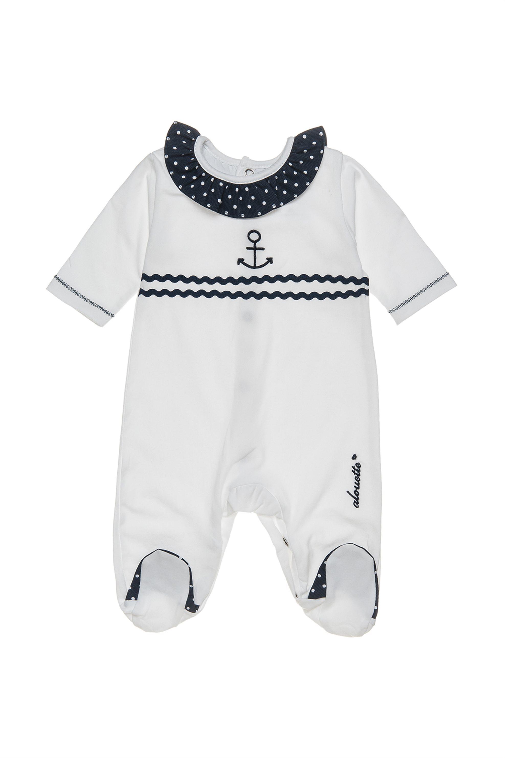 Βρεφικό φορμάκι κοντομάνικο με κλειστο μπατζάκι Alouette - 00480977 - Λευκό παιδι   βρεφικα κοριτσι   0 3 ετων   ρούχα   φορμάκια