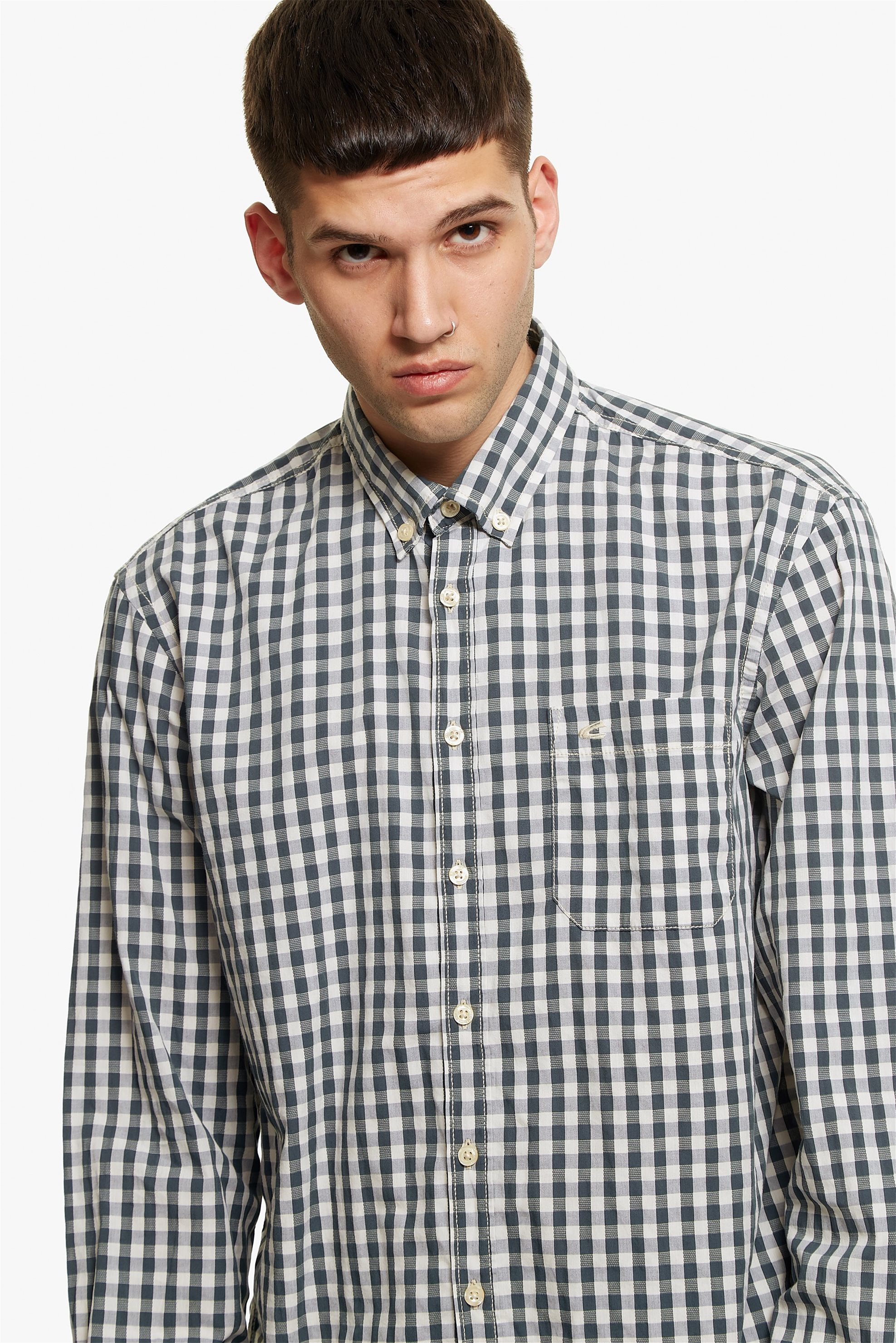 Camel Active ανδρικό καρό πουκάμισο Button down - CD-83-345040 - Ανθρακί ανδρασ   ρουχα   πουκάμισα   casual