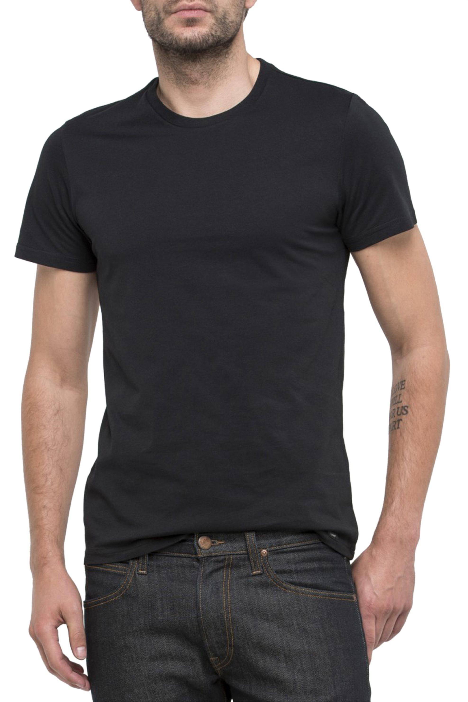 Ανδρικό μαύρο T-shirt Twin Pack Crew Lee - L680AI01 - Μαύρο ανδρασ   ρουχα   μπλούζες   t shirts