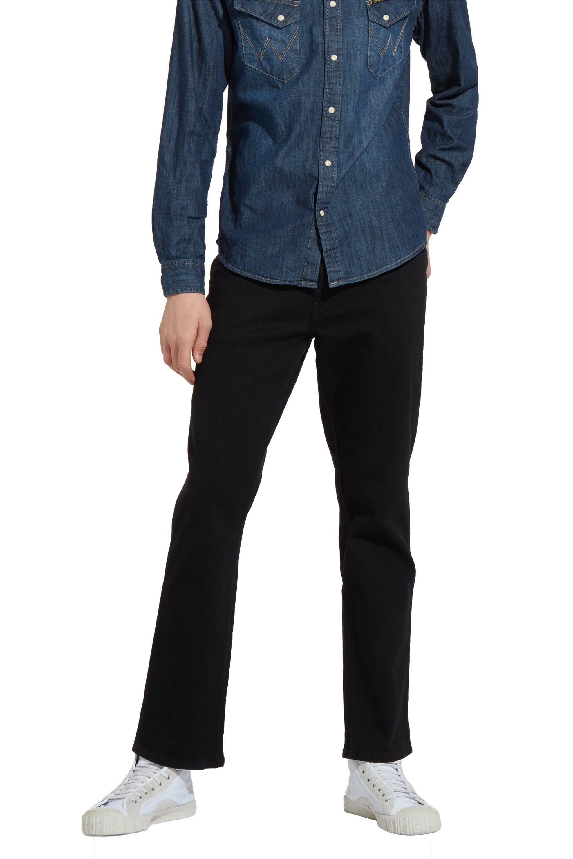 Ανδρικό μαύρο παντελόνι Texas Stretch Wrangler - W12109004 - Μαύρο ανδρασ   ρουχα   jeans   straight