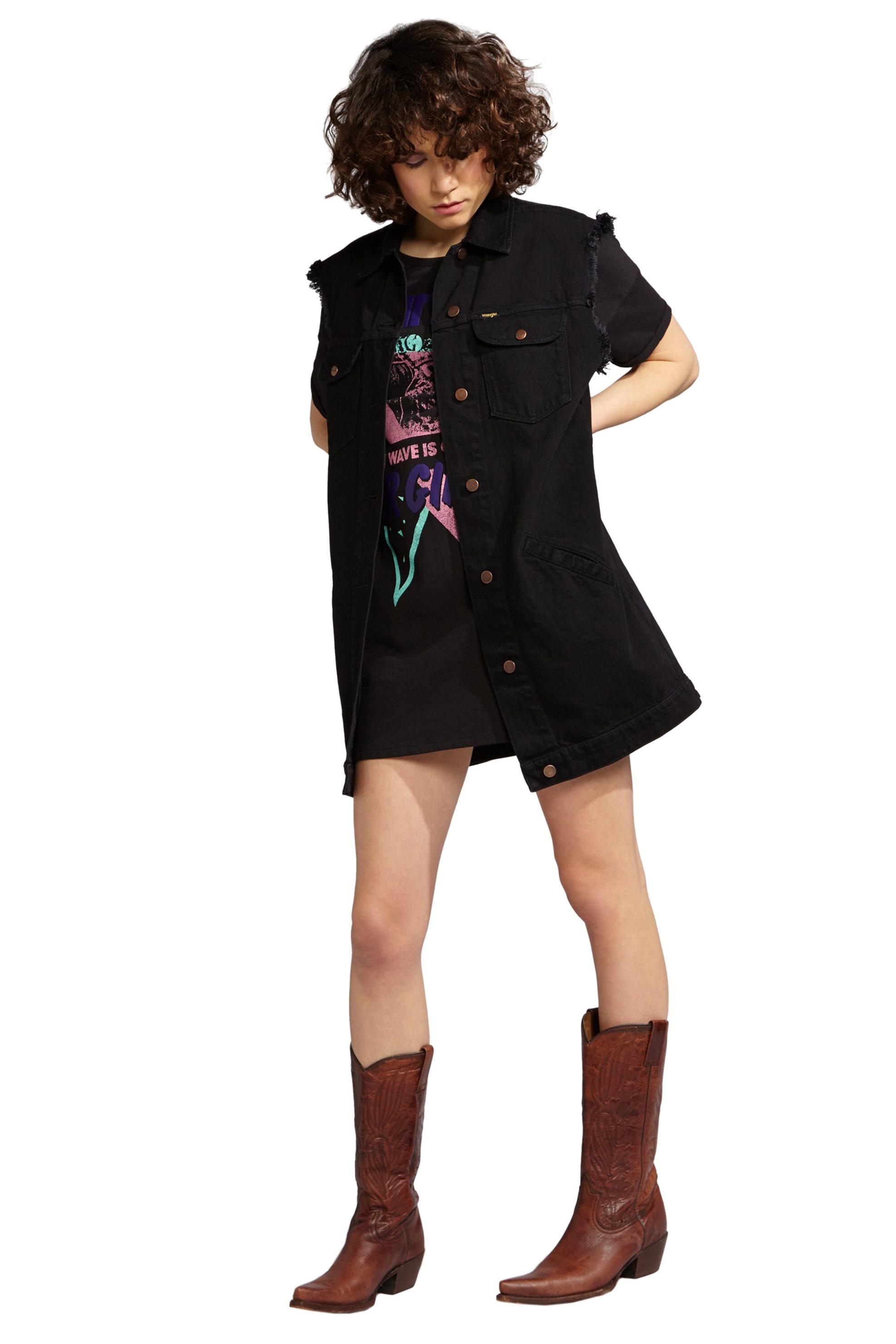 Γυναικείο μακρύ γιλέκο Long Vest Wrangler - W418RJ24Q - Μαύρο γυναικα   ρουχα   πανωφόρια   αμάνικα μπουφάν   jeans