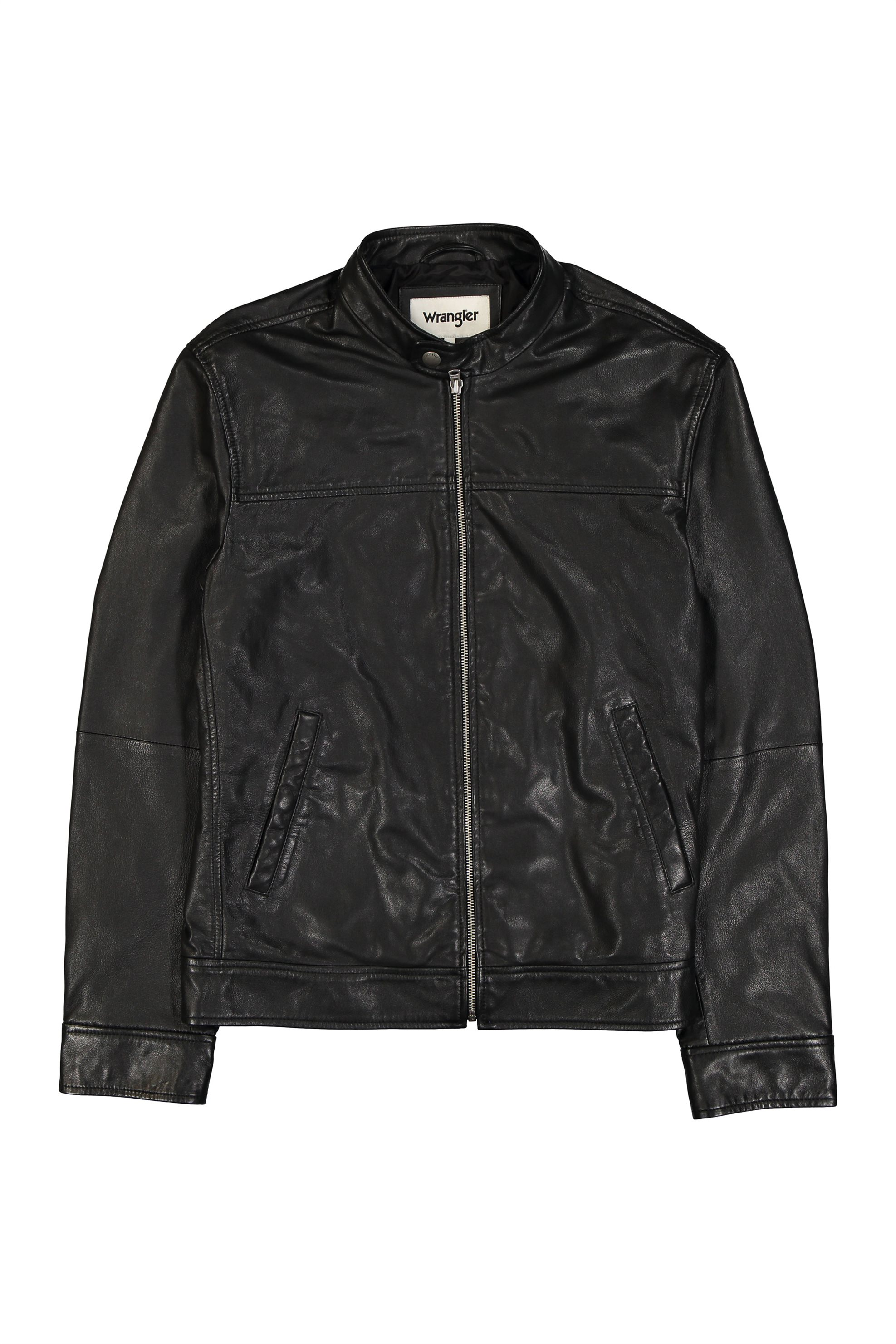 Wrangler ανδρικό biker μπουφάν Leather Biker Black - W4761ZC01 - Μαύρο 4fcbce4e72f
