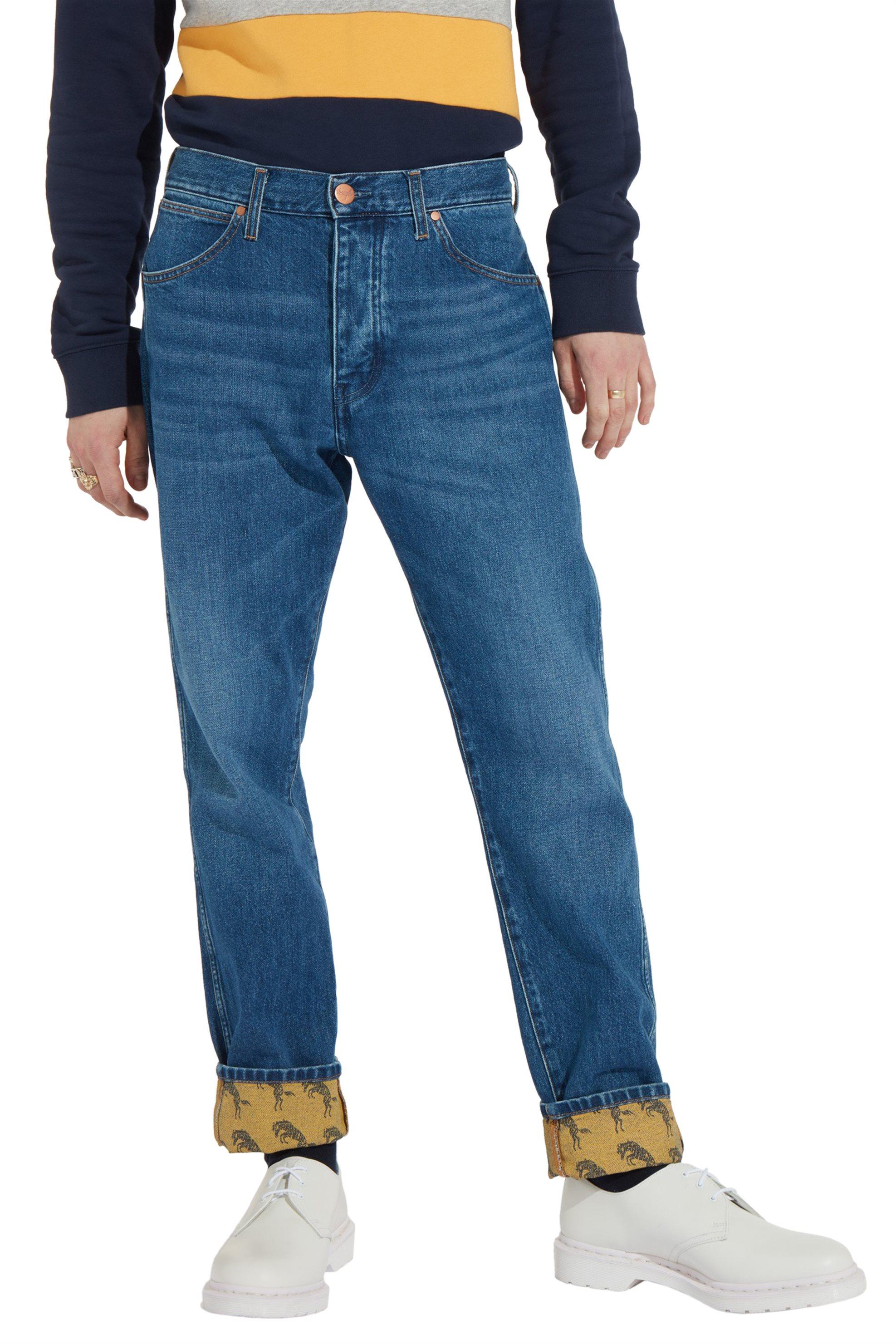 Wrangler ανδρικό παντελόνι Blue & Yellow Regular Tapered - W11GSW23W - Μπλε ανδρασ   ρουχα   jeans   tapered