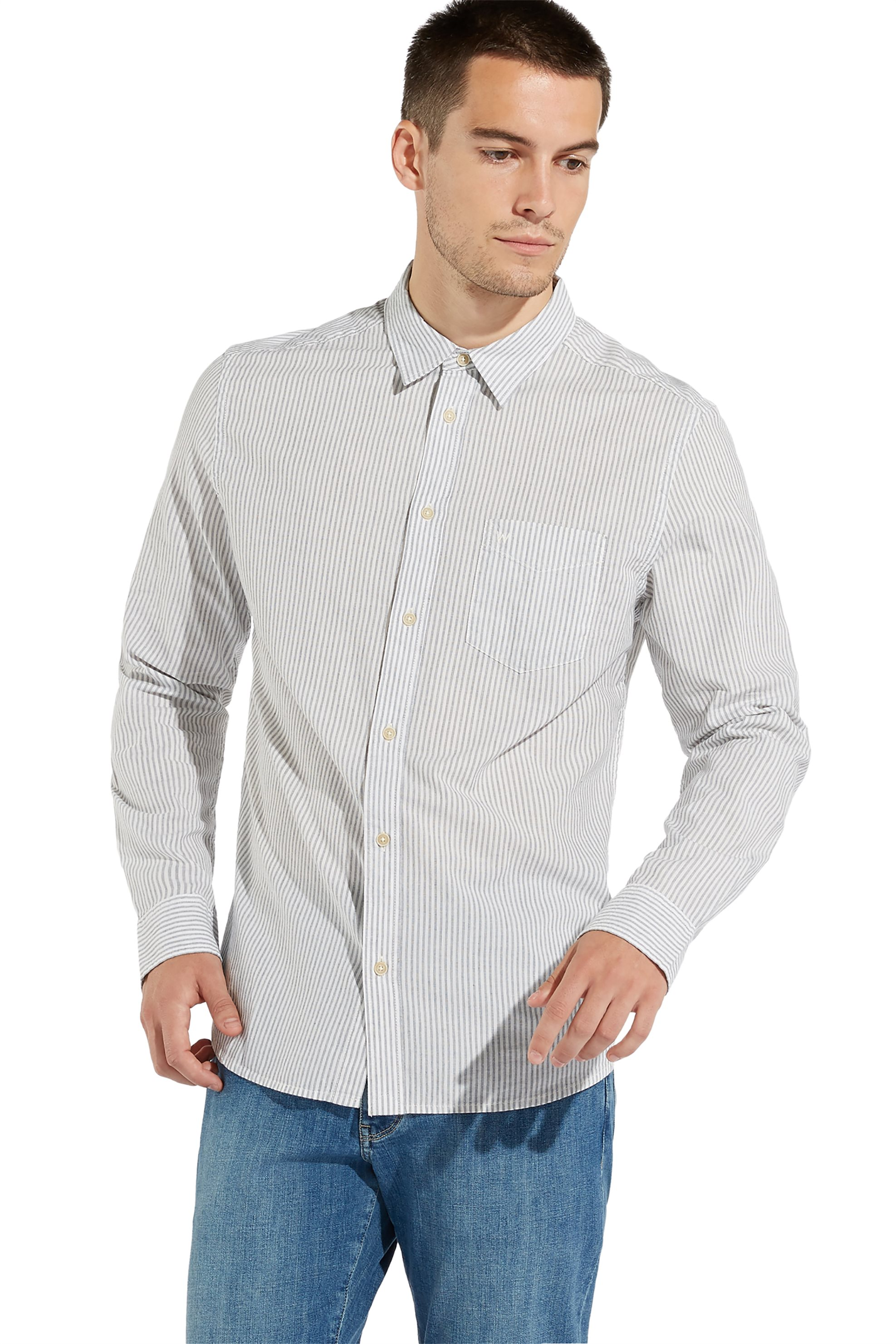 a9e5c0072f26 Notos Wrangler ανδρικό πουκάμισο One Pocket Navy - W5760MN35 - Γκρι