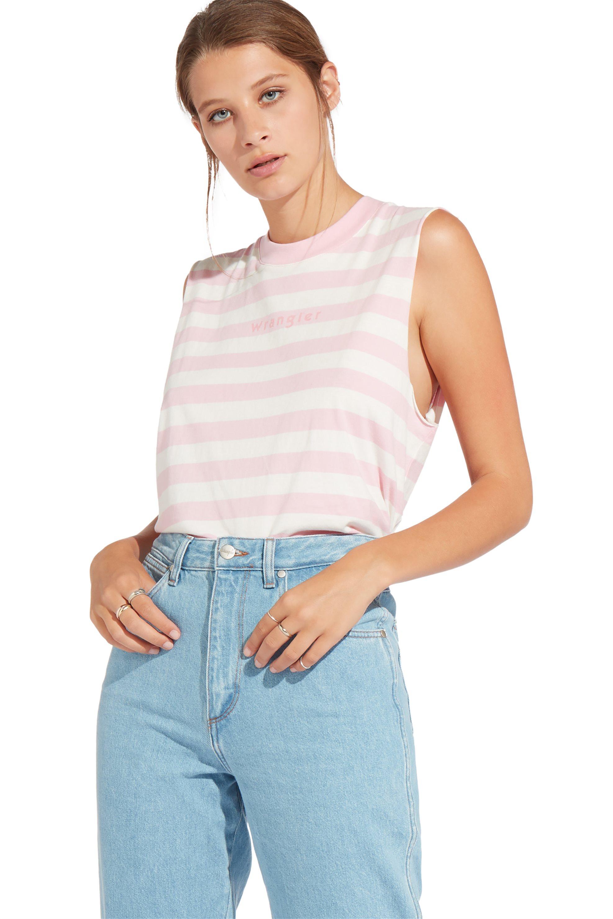 Wrangler γυναικεία αμάνικη μπλούζα 80's Tank Cameo Pink - W7014EWY2 - Ροζ γυναικα   ρουχα   tops   αμάνικα