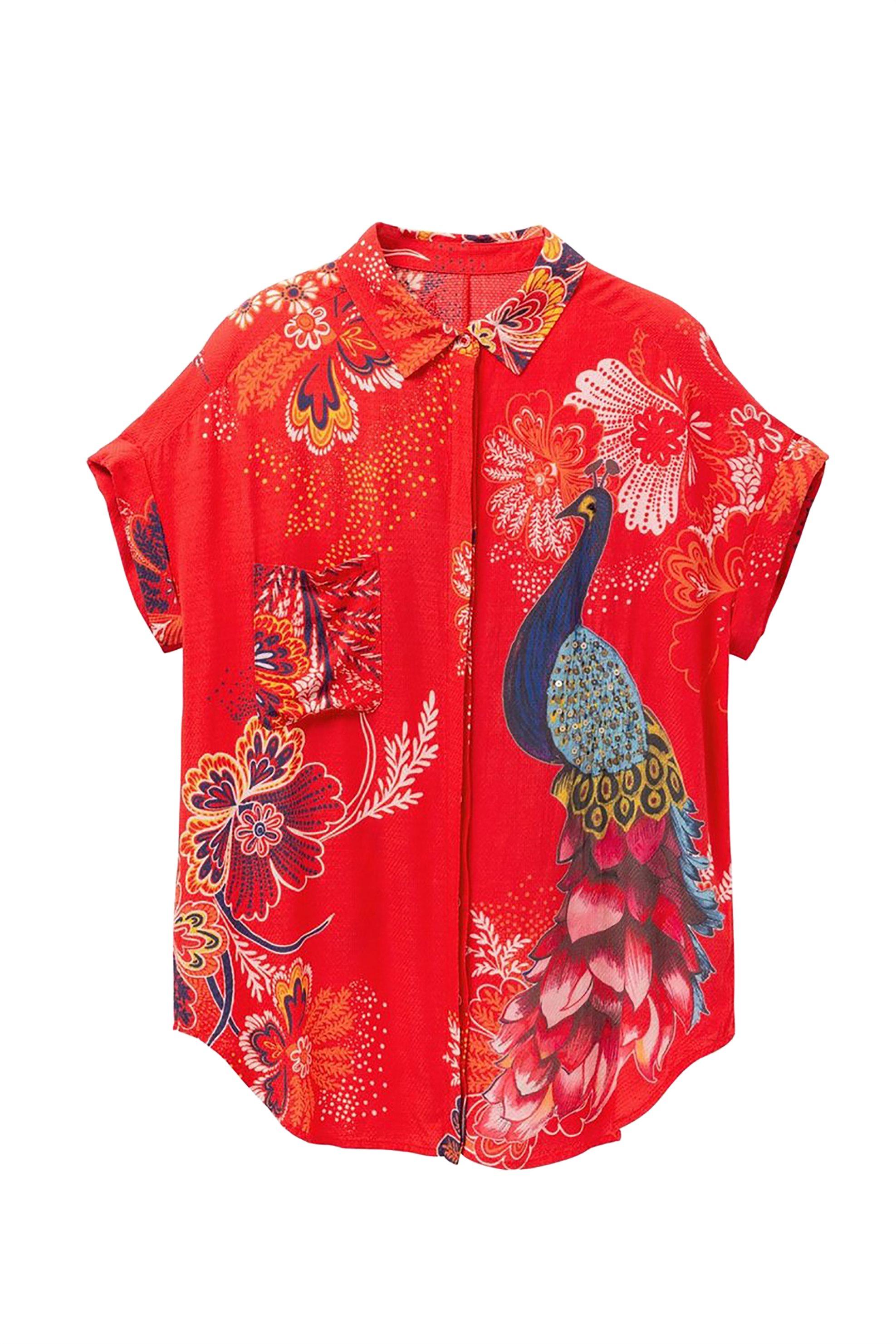 Desigual γυναικείο πουκάμισο με κοντό μανίκι Ιnaya - 19SWCW90 - Κόκκινο γυναικα   ρουχα   tops   πουκάμισα   casual