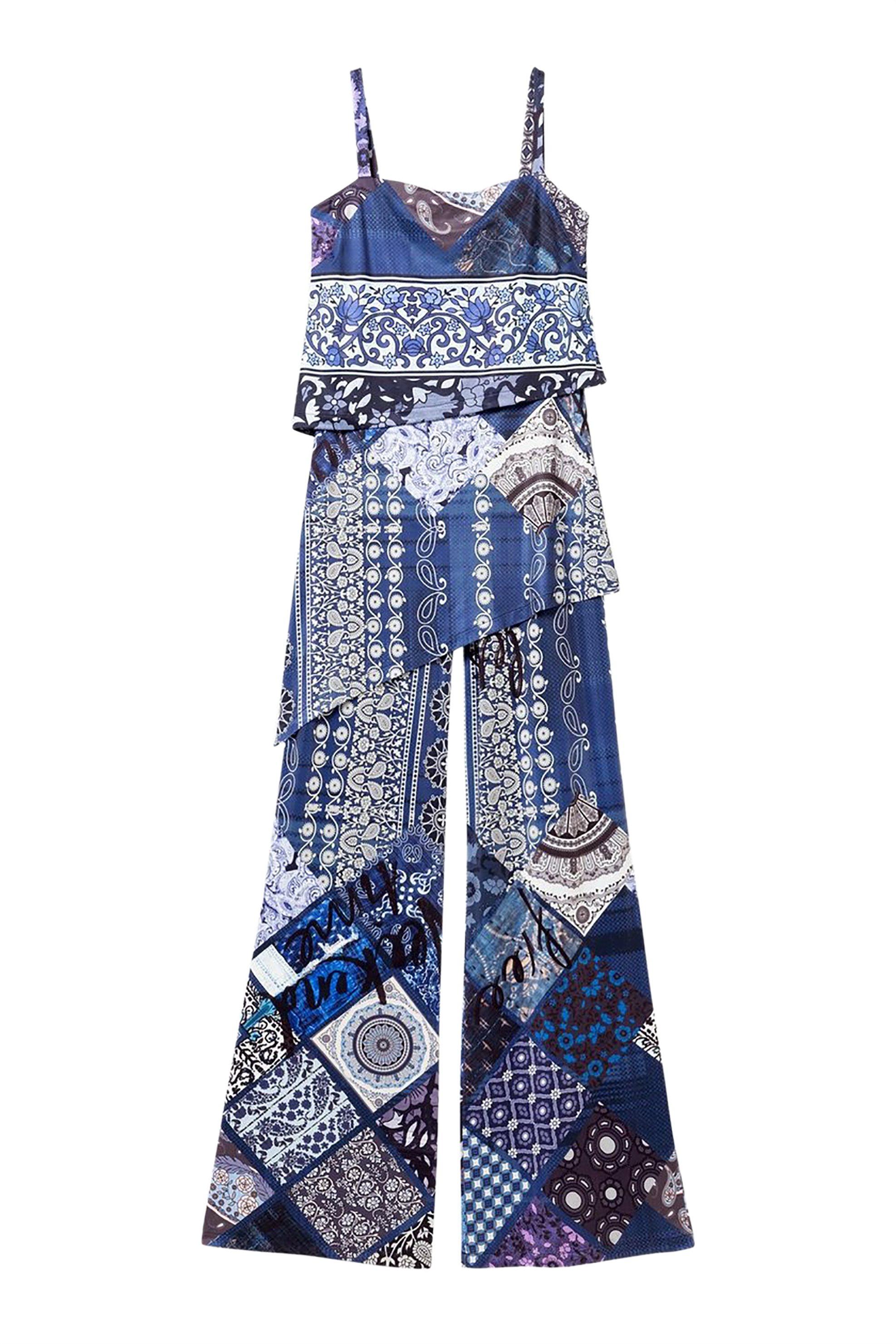 Desigual γυναικεία ολόσωμη φόρμα εμπριμέ Candice - 19SWPK10 - Μπλε γυναικα   ρουχα   ολόσωμες φόρμες   σαλοπέτες