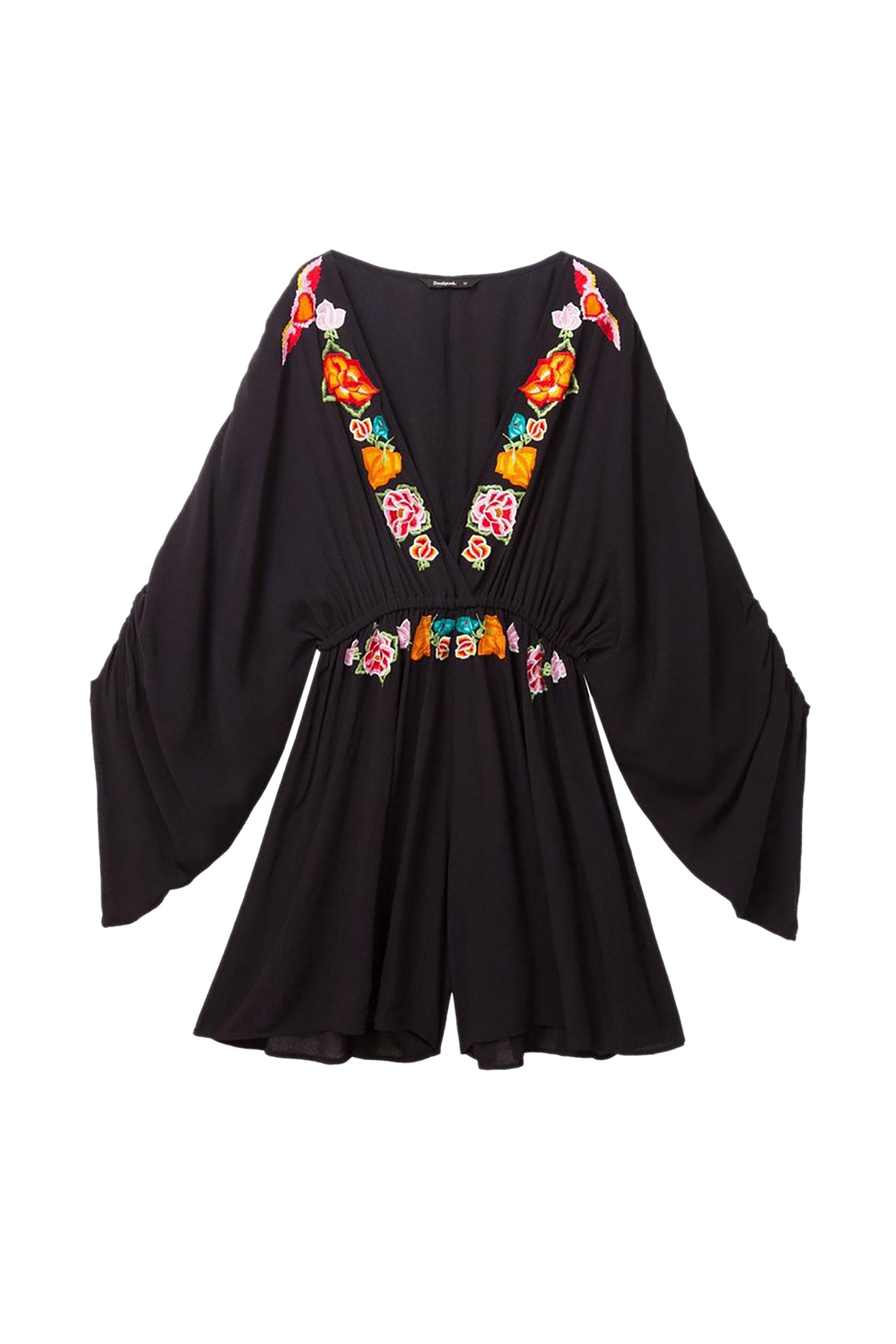 Desigual γυναικεία ολόσωμη φόρμα με κεντήματα Soraya - 19SWPW07 - Μαύρο γυναικα   ρουχα   ολόσωμες φόρμες   σαλοπέτες