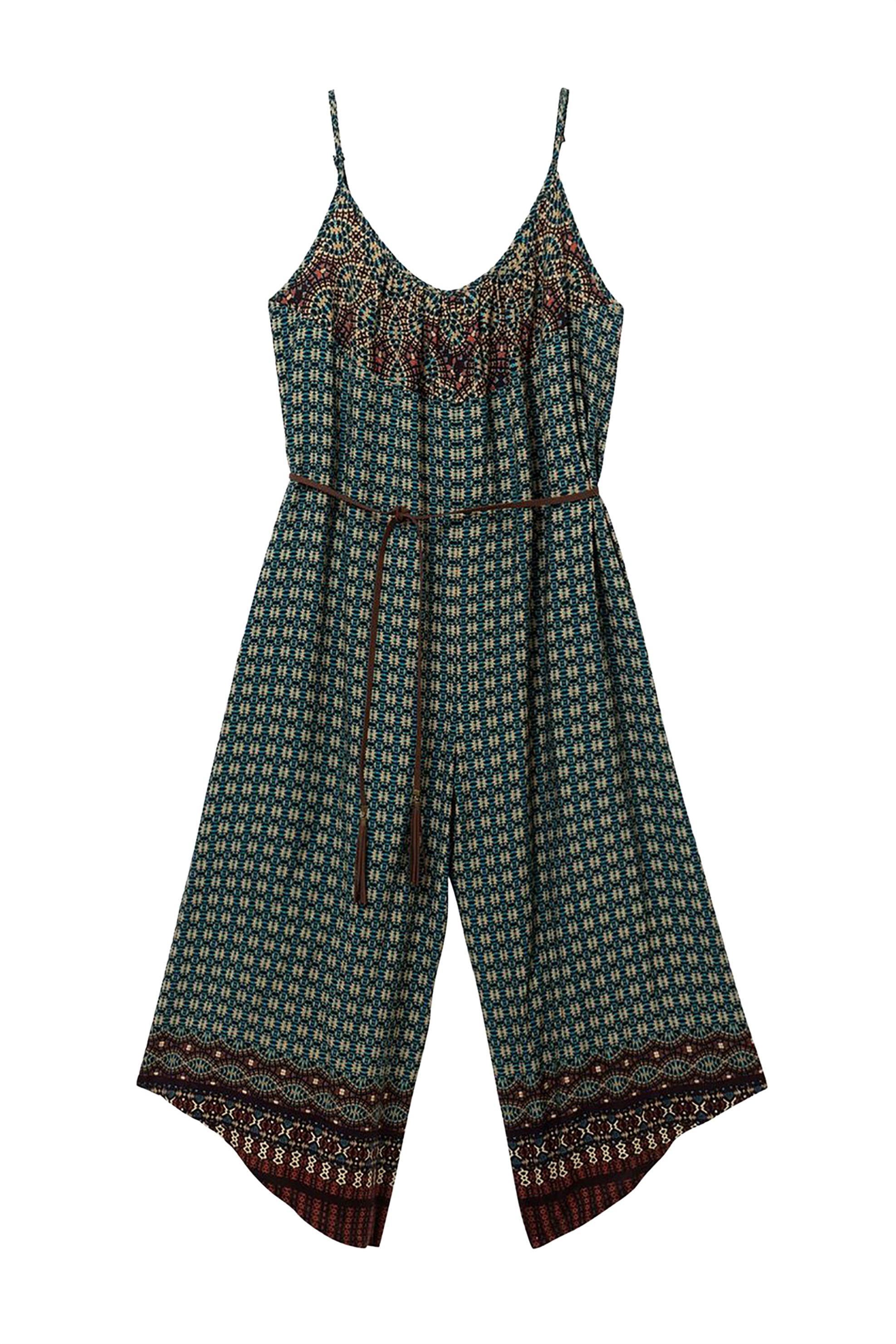 Desigual γυναικεία ολόσωμη φόρμα εμπριμέ με ζωνάκι Rasha - 19SWPW17 - Πράσινο γυναικα   ρουχα   ολόσωμες φόρμες   σαλοπέτες