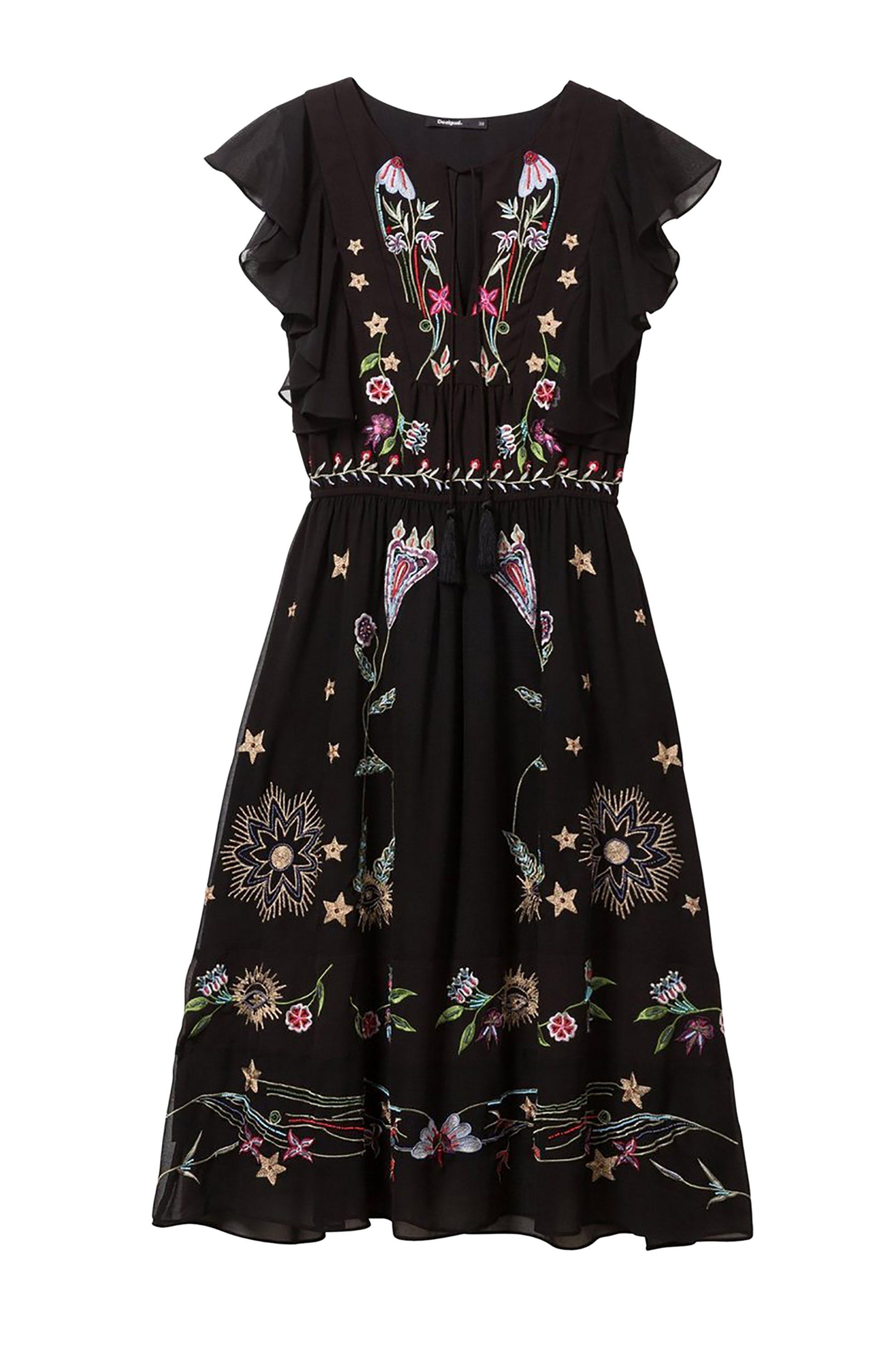 18179df0503e Notos Desigual γυναικείo φόρεμα με κεντήματα Sandy - 19SWVW70 - Μαύρο