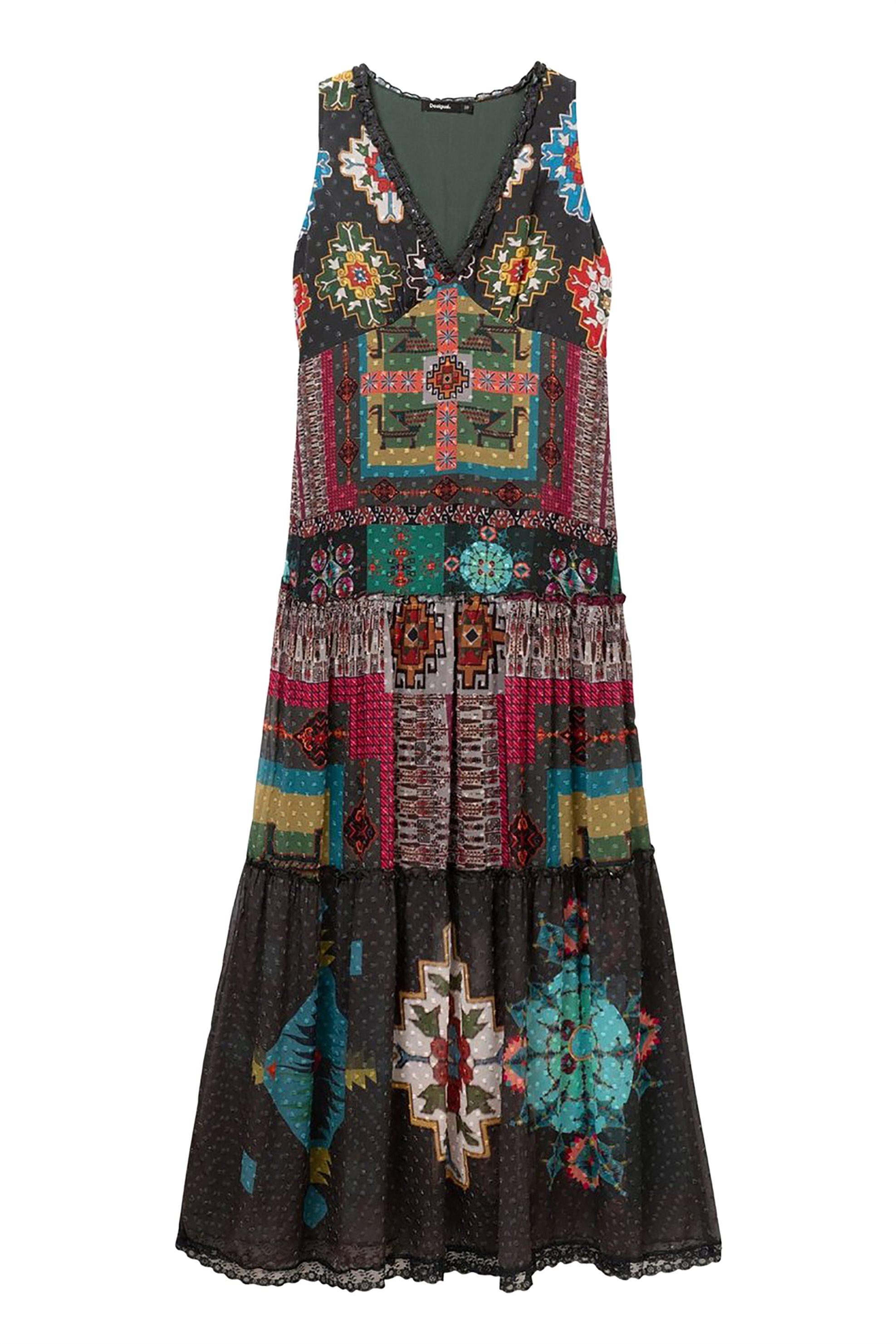 050f1e14f4e8 Notos Desigual γυναικείo maxi φόρεμα με V λαιμόκοψη Νicole - 19SWVW76 - Χακί