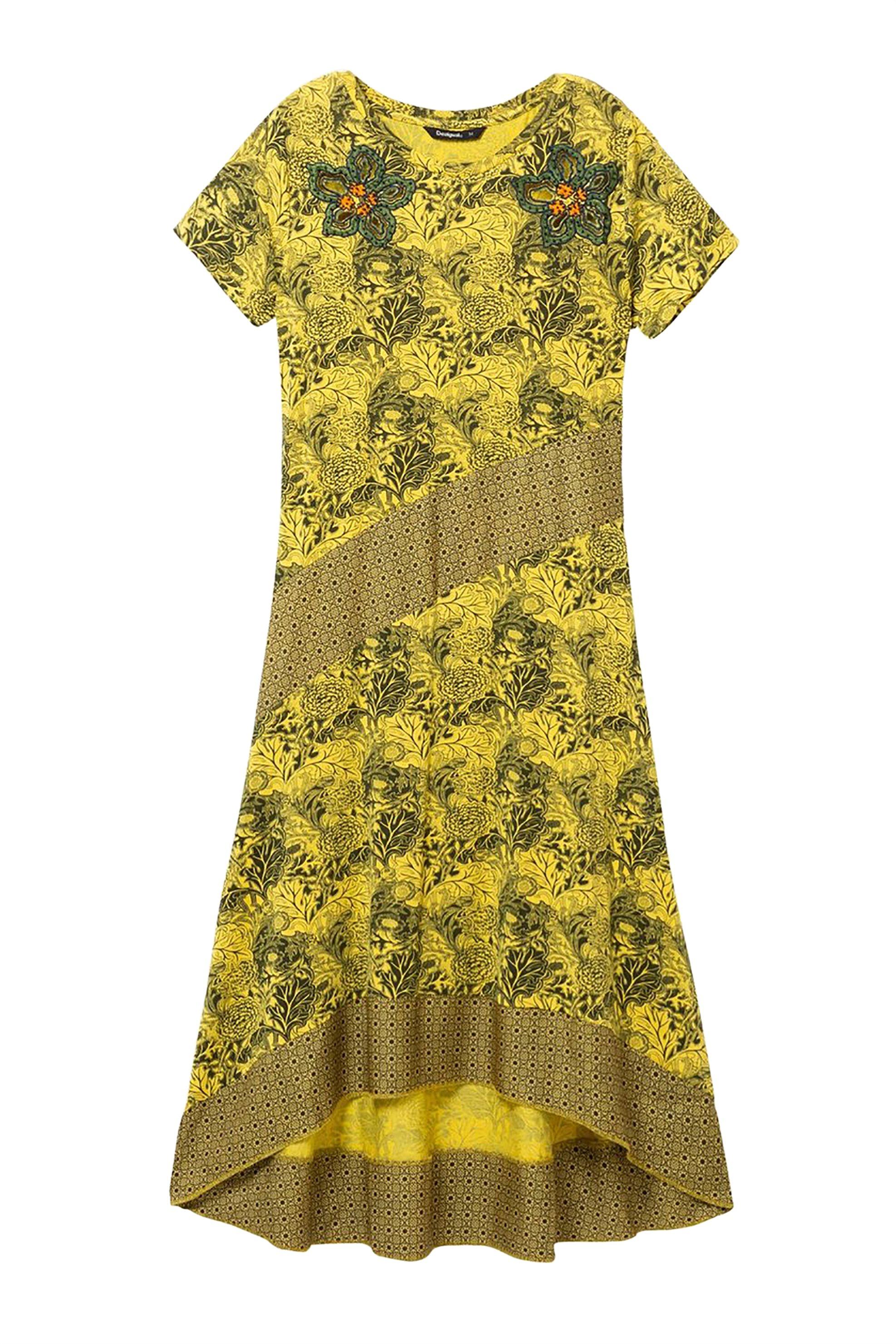 Desigual γυναικείo φόρεμα ασύμμετρο Duna - 19SWVK54 - Μουσταρδί γυναικα   ρουχα   φορέματα   midi φορέματα