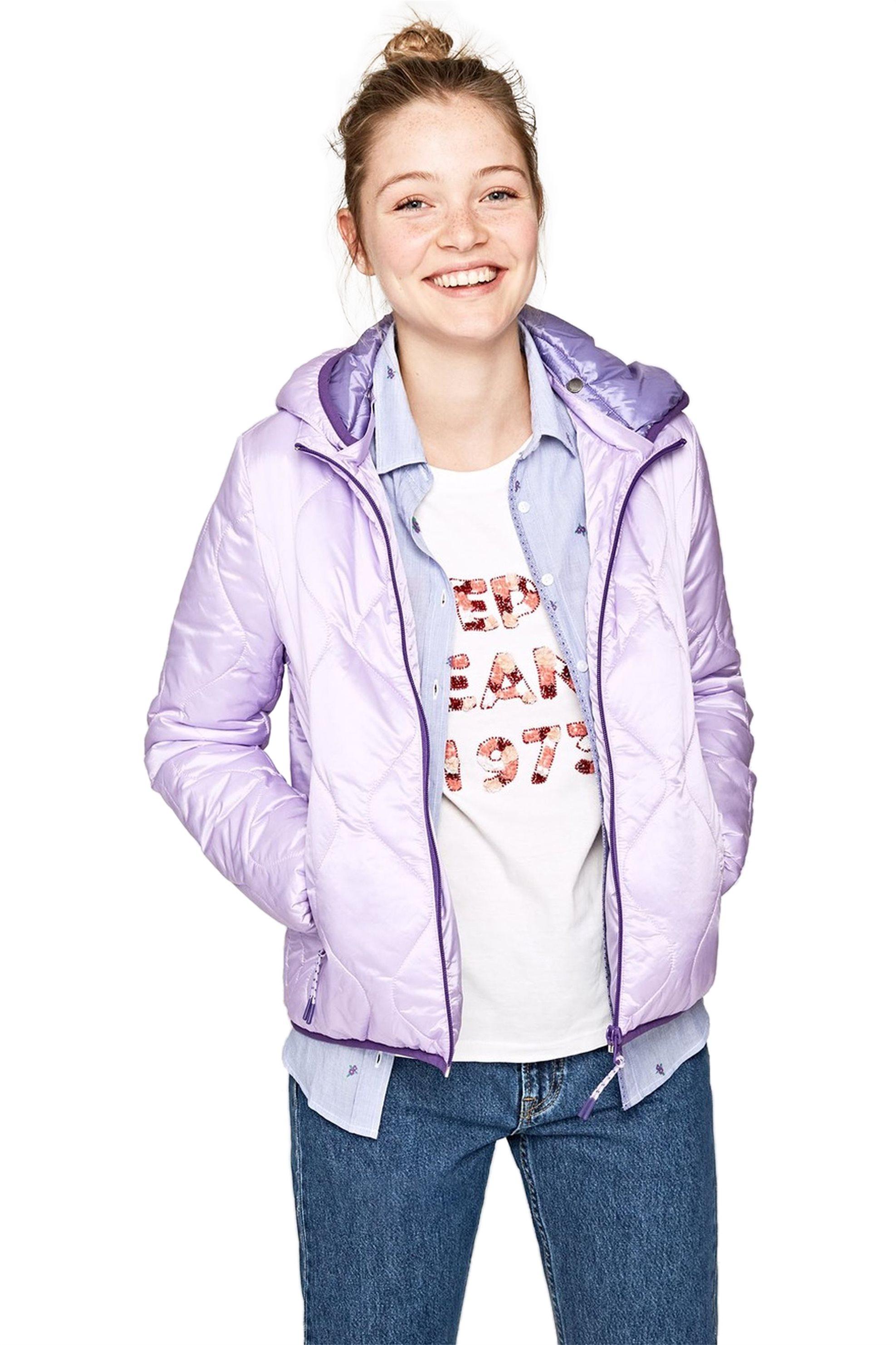 689d7d0e3f9 Pepe Jeans γυναικείο καπιτονέ μπουφάν με κουκούλα Mathilde - PL401585 - Λιλά