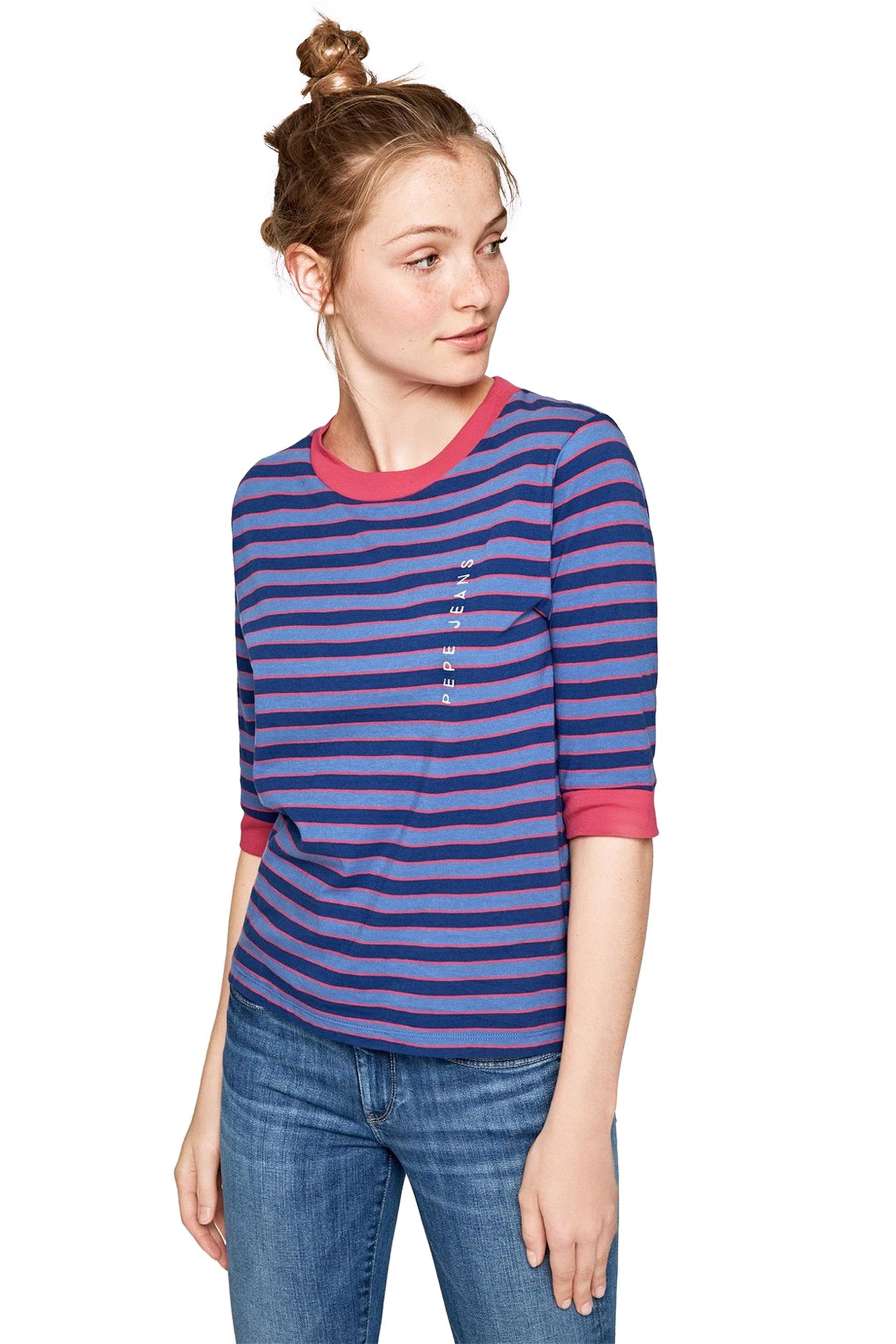 Pepe Jeans γυναικεία μπλούζα ριγέ Florence - PL503961 - Μπλε γυναικα   ρουχα   tops   μπλούζες   casual