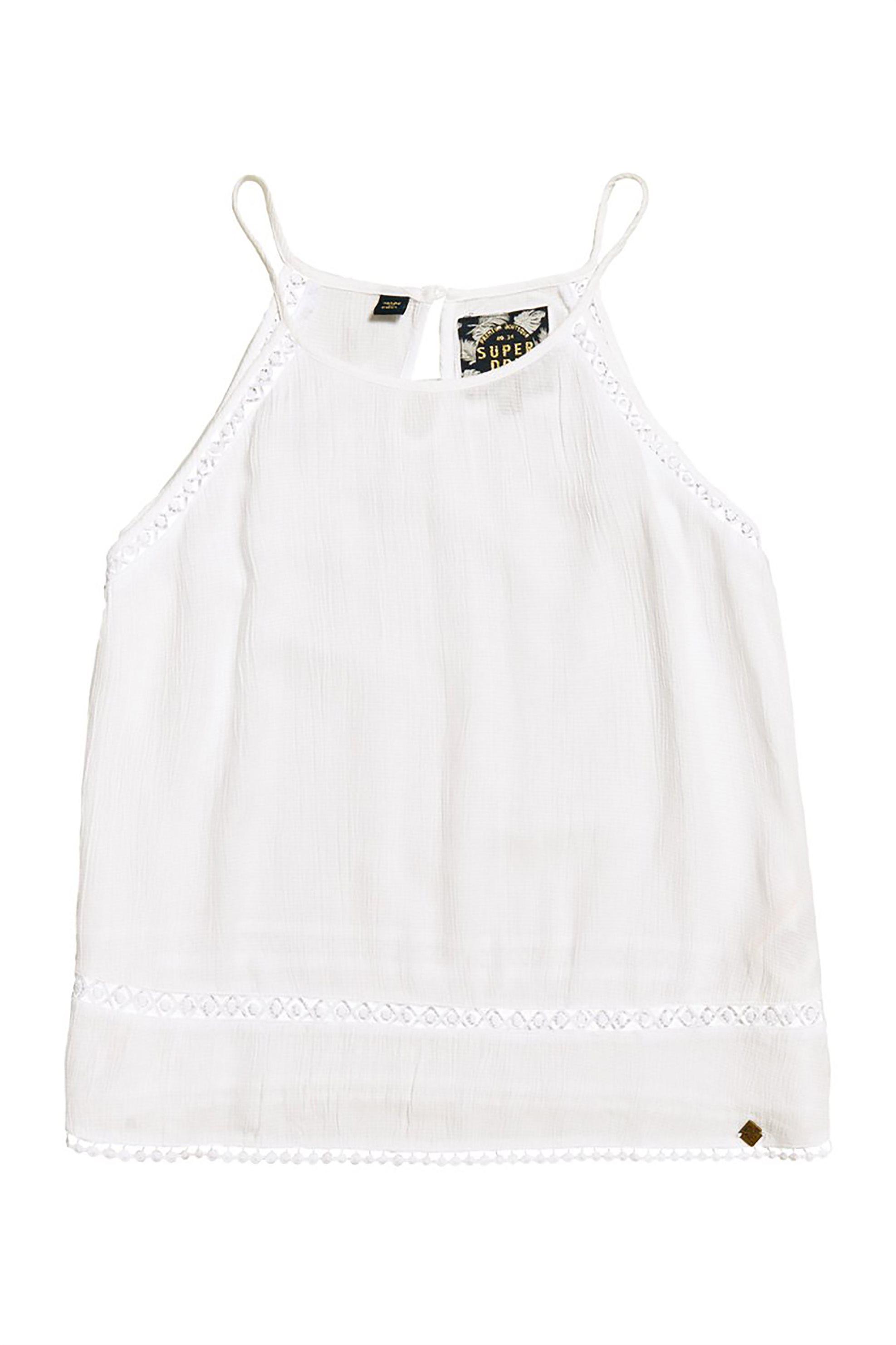 Superdry γυναικεία μπλούζα με λεπτό ραντάκι Ricky - G60101JT - Λευκό γυναικα   ρουχα   tops   ραντάκια   κορμάκια   μπλούζες   casual
