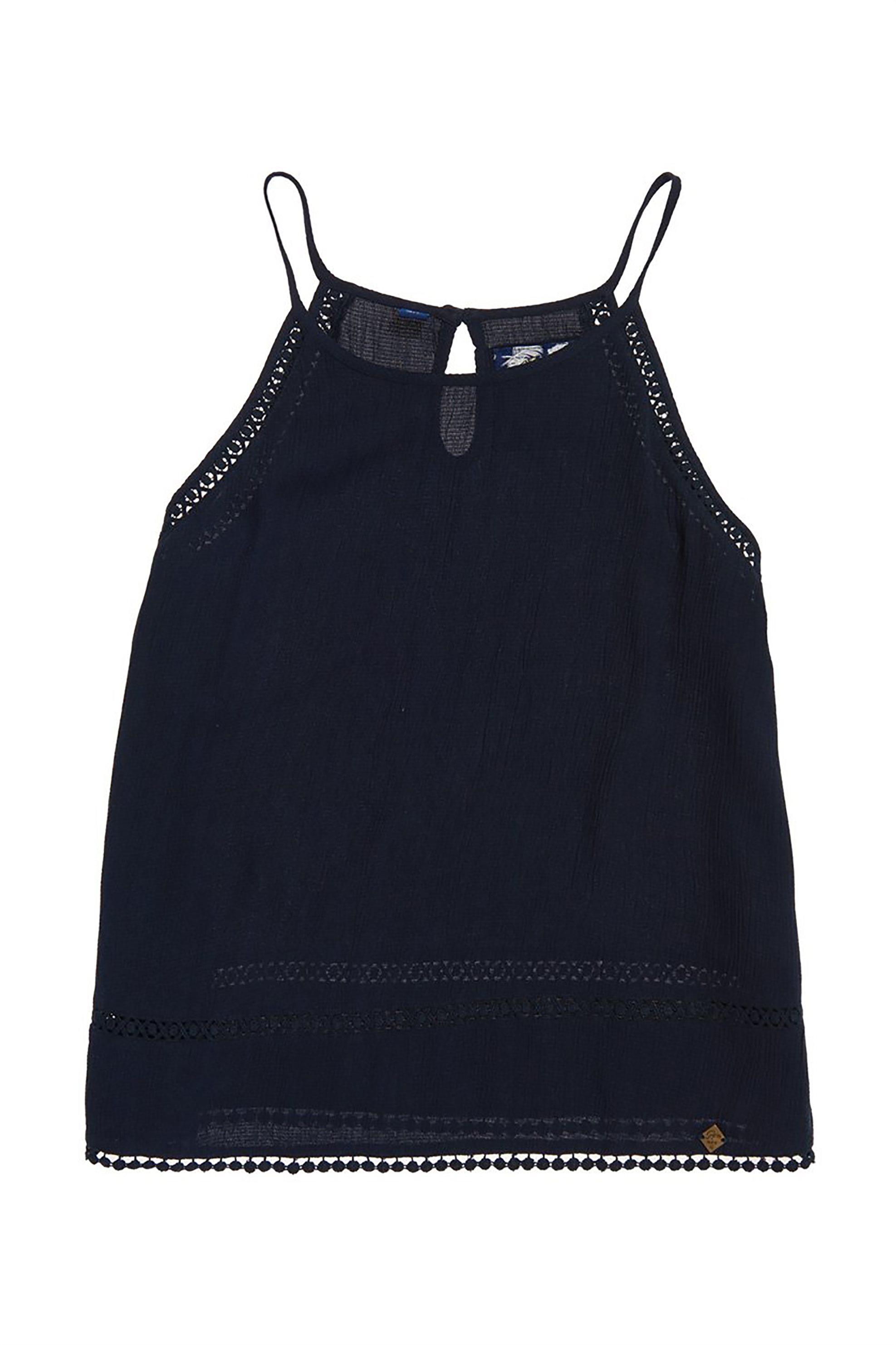 Superdry γυναικεία μπλούζα με λεπτό ραντάκι Ricky - G60101JT - Μπλε Σκούρο γυναικα   ρουχα   tops   ραντάκια   κορμάκια   μπλούζες   casual