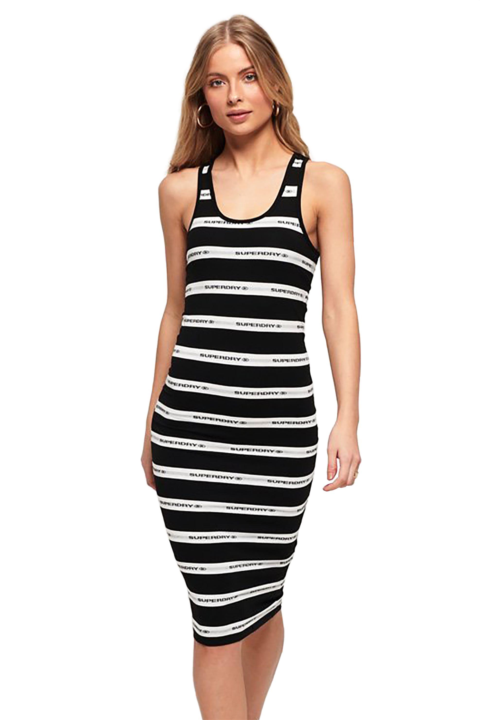 Superdry γυναικείο ριγέ μίντι φόρεμα Mila - G80113MT - Μαύρο γυναικα   ρουχα   φορέματα   midi φορέματα