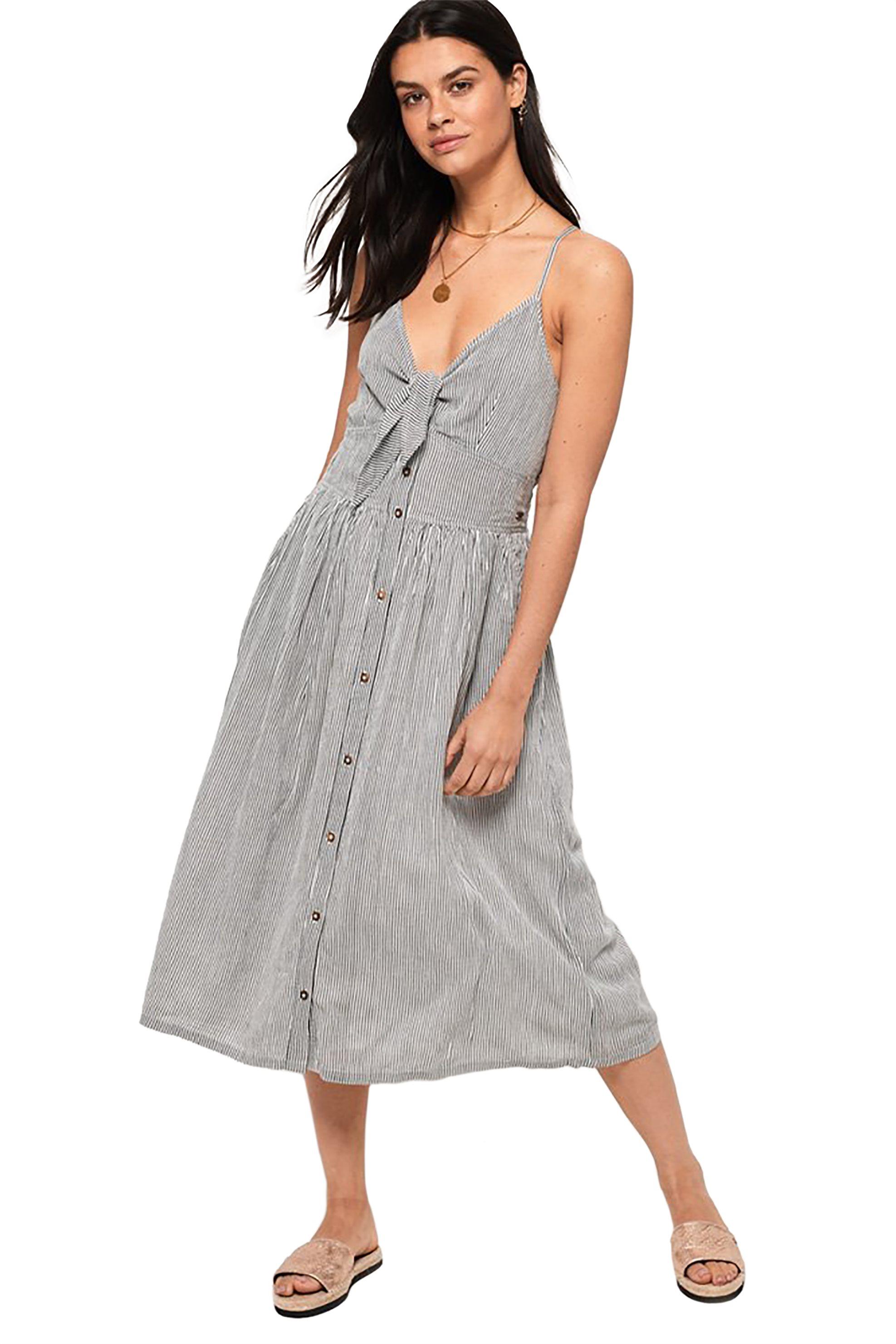 Superdry γυναικείο φόρεμα με δέσιμο μπροστά Jayde - G80124OT - Γκρι γυναικα   ρουχα   φορέματα   midi φορέματα