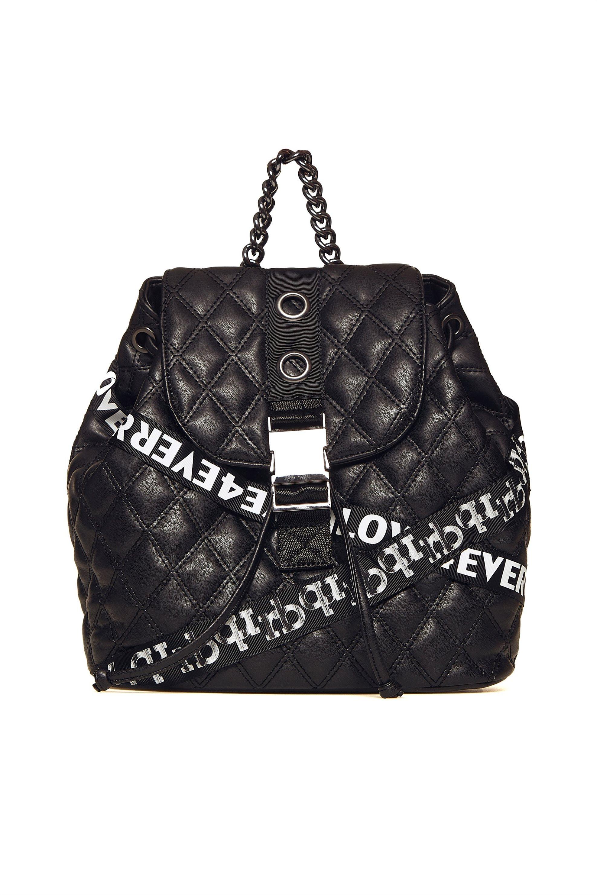c61f9cac76 Notos Roccobarocco γυναικείο backpack καπιτονέ με ριγέ λουρί και τρέσες -  01GRBBS18O03  FO - Μαύρο