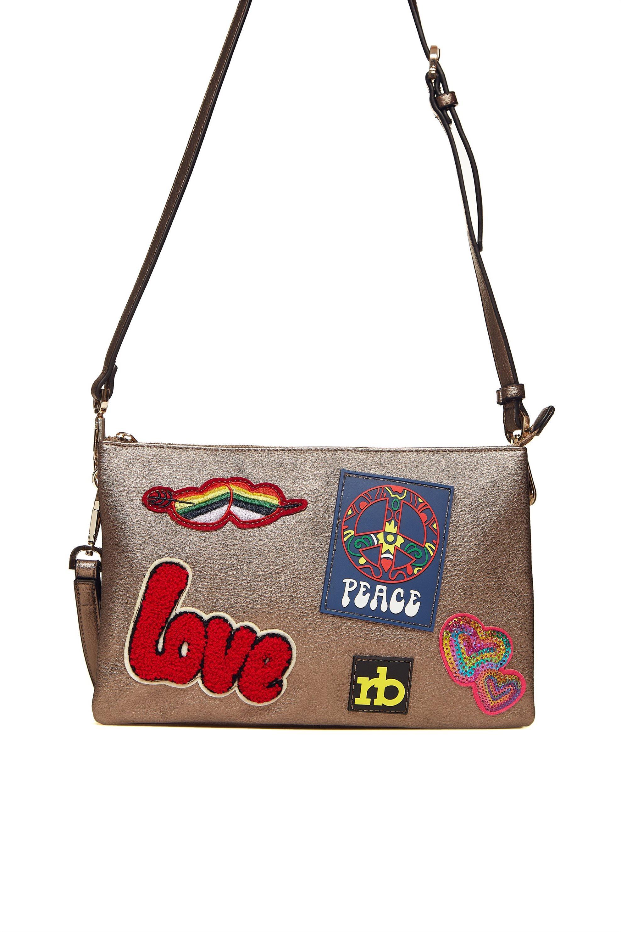 309e8a470d Roccobarocco γυναικεία τσάντα crossbody με patches - 01GRBBS1O203 JA -  Μπρονζέ