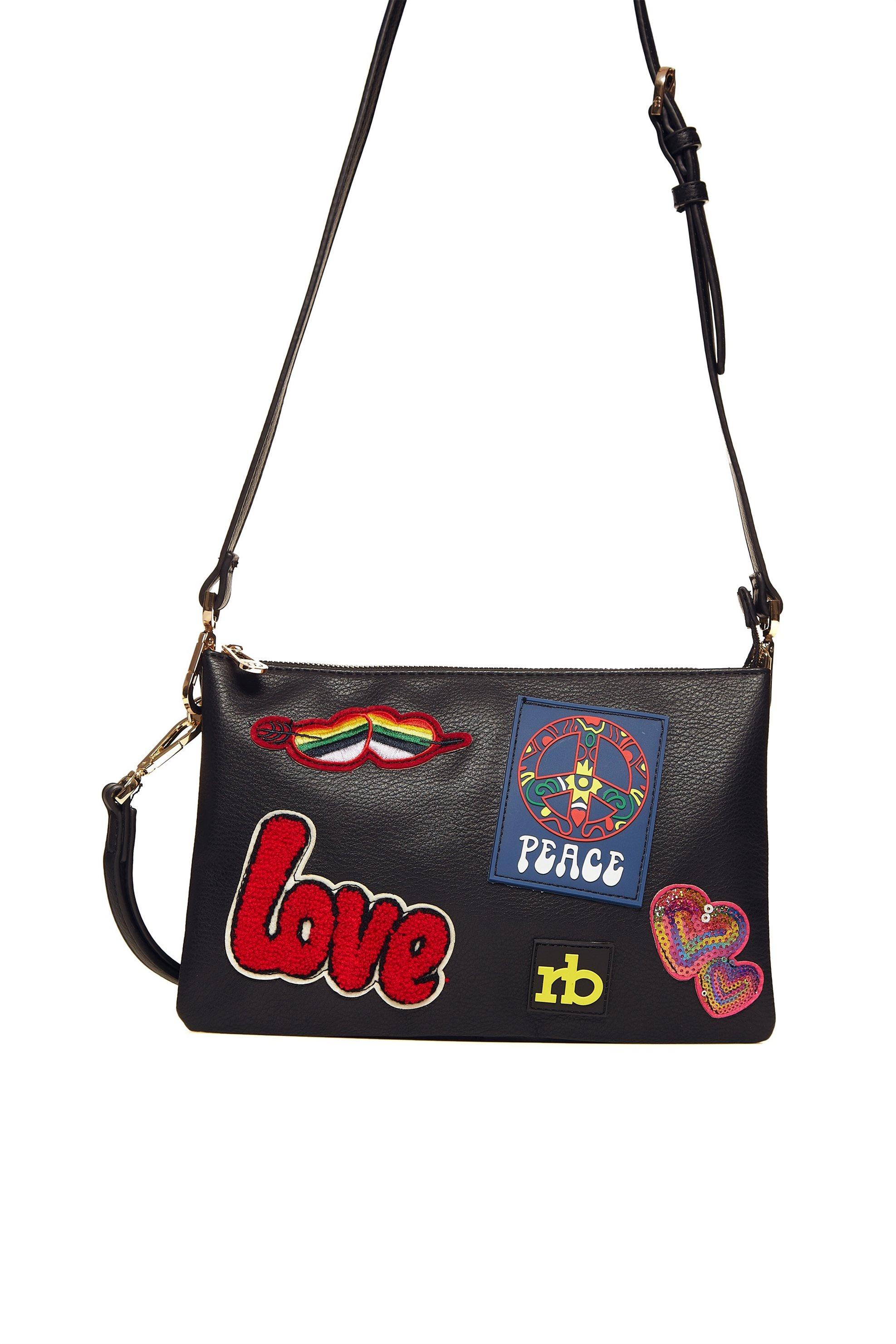 db521a9e0d Roccobarocco γυναικεία τσάντα crossbody με patches - 01GRBBS1O203 JA - Μαύρο